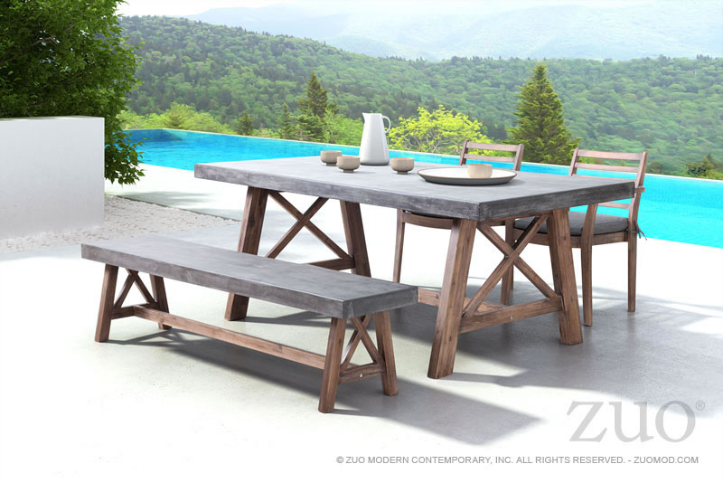 Ford Dining Table Cement  Natural By Zuo Modern - Natural dining table