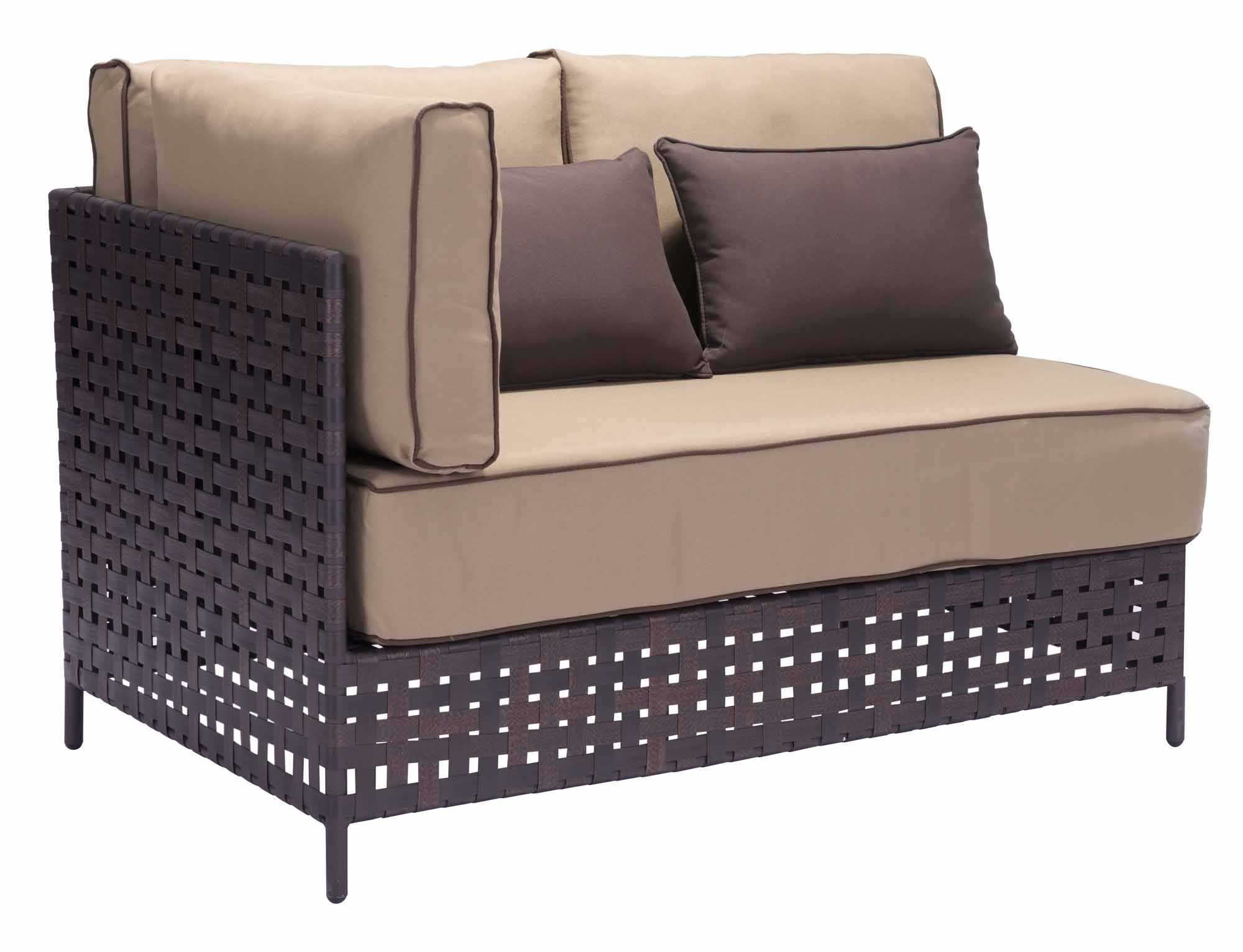 pinery left lhf corner chaise beige by zuo modern. Black Bedroom Furniture Sets. Home Design Ideas