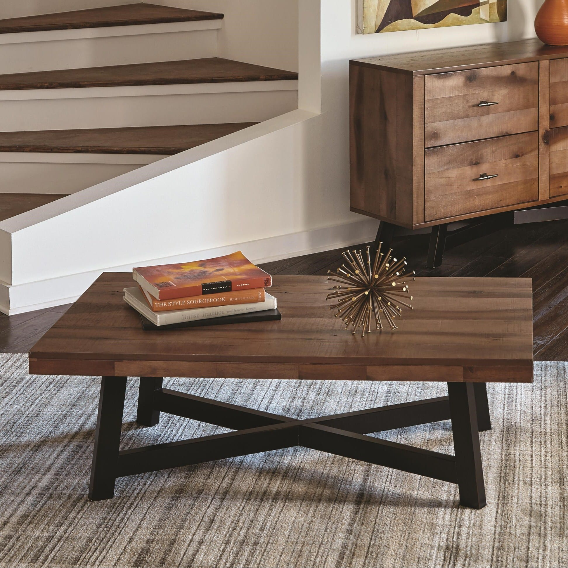 705498 Rustic Naomi Ash Black Sand Off Coffee Table By Scott Living