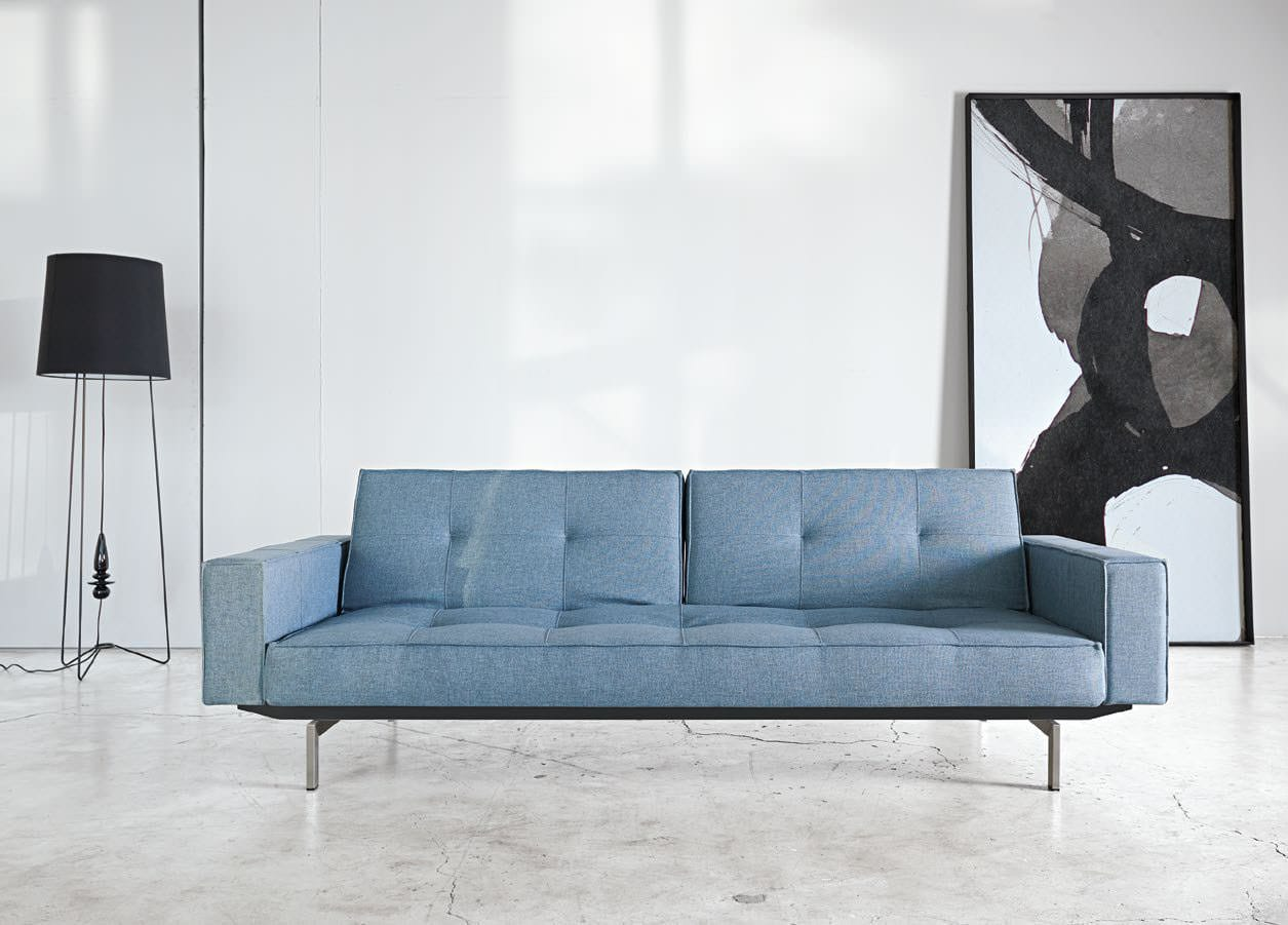 Splitback Sofa Bed W Arms Mixed Dance Light Blue By Innovation
