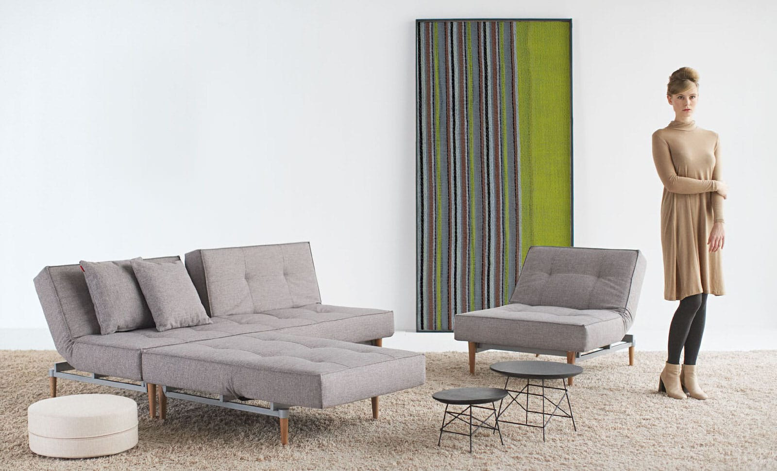 splitback sofa bed mixed dance gray by innovation -