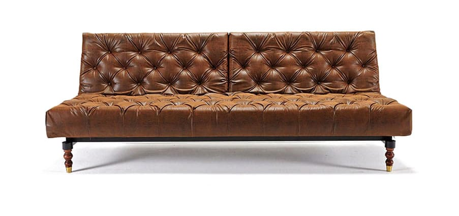 Oldschool Chesterfield Sofa Bed Vintage Brown Leather Textile