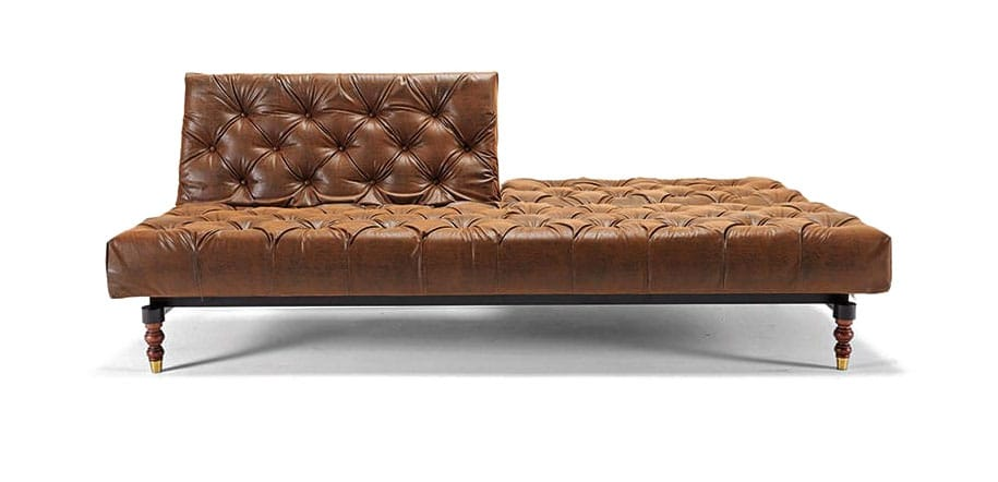 leather chesterfield sofa craigslist vintage for sale bed brown textile innovation north carolina