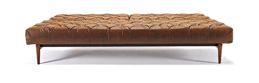 Oldschool Chesterfield Sofa Bed Vintage Brown Leather Textile by ...