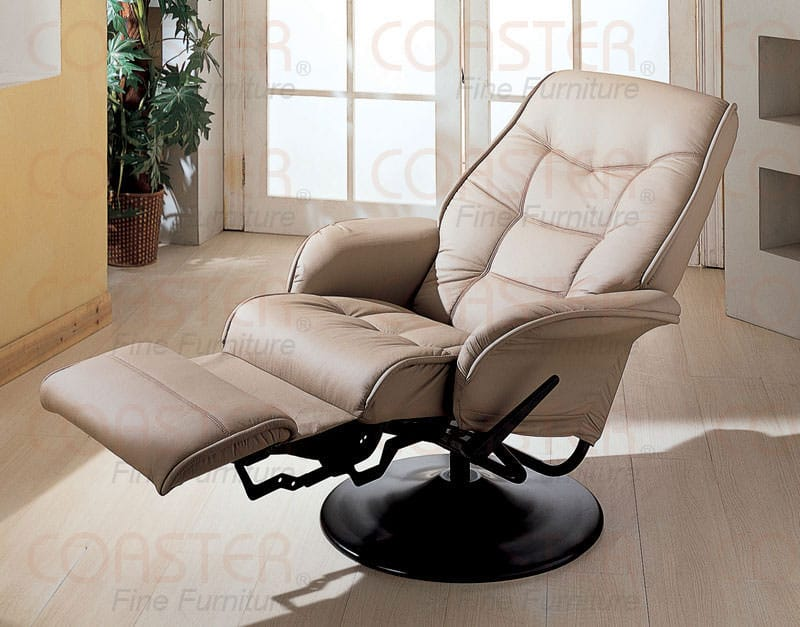 & 7502 Chair Recliner Beige w/Black Base by Coaster islam-shia.org