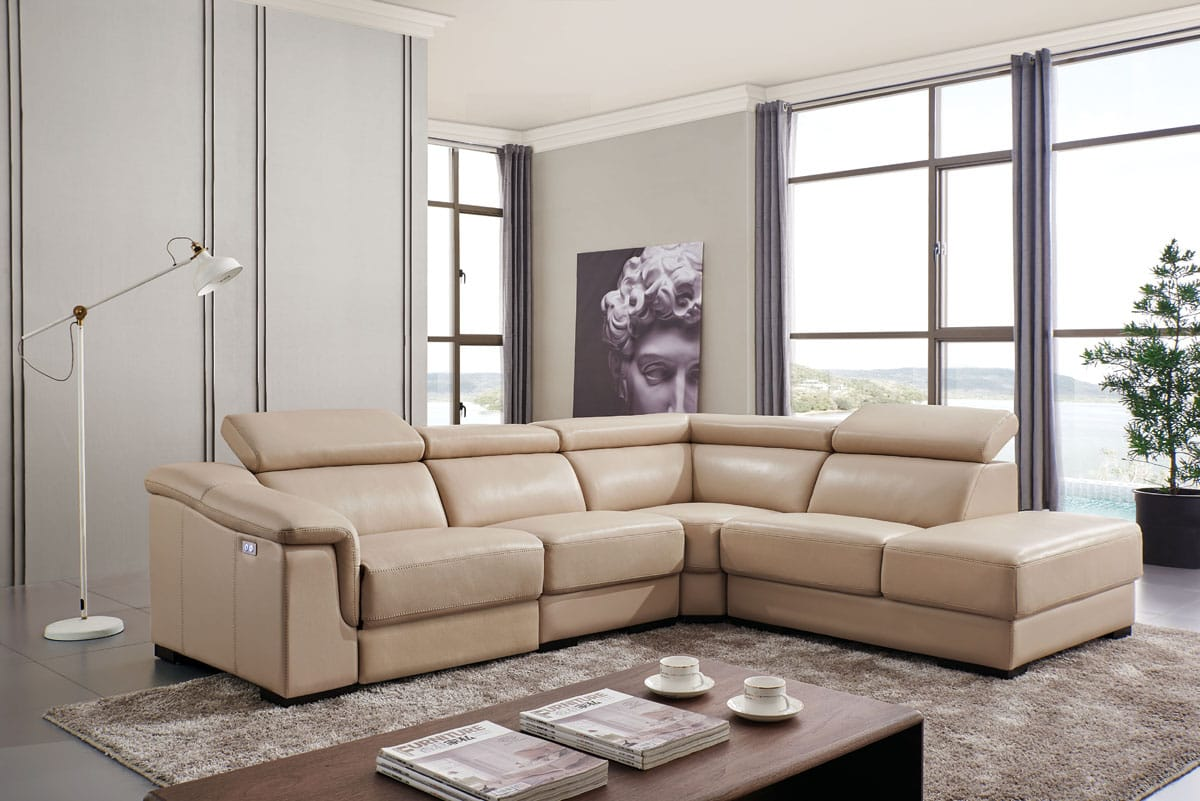 760 Beige Leather Sectional by ESF