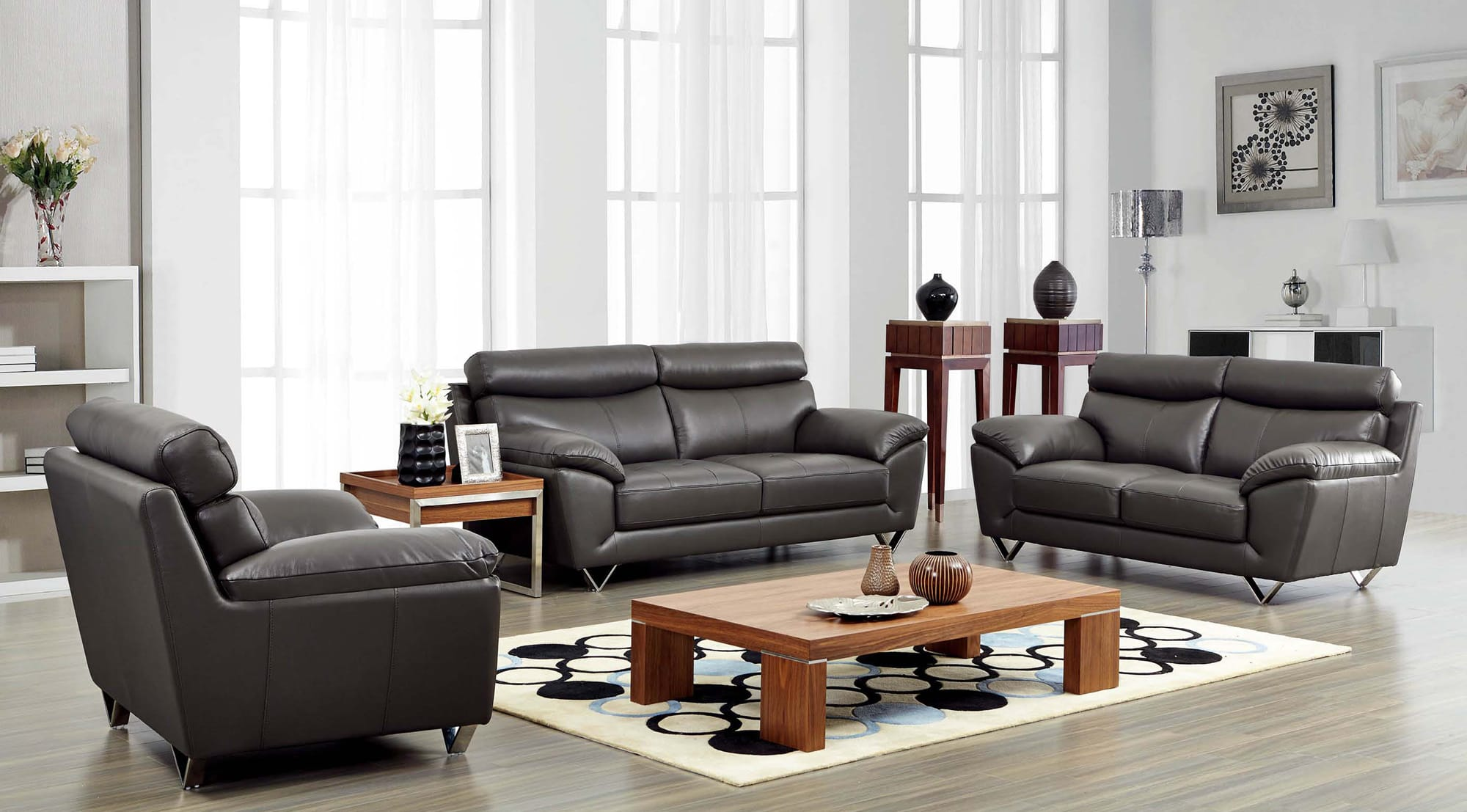 8049 Leather Sofa Set By Esf