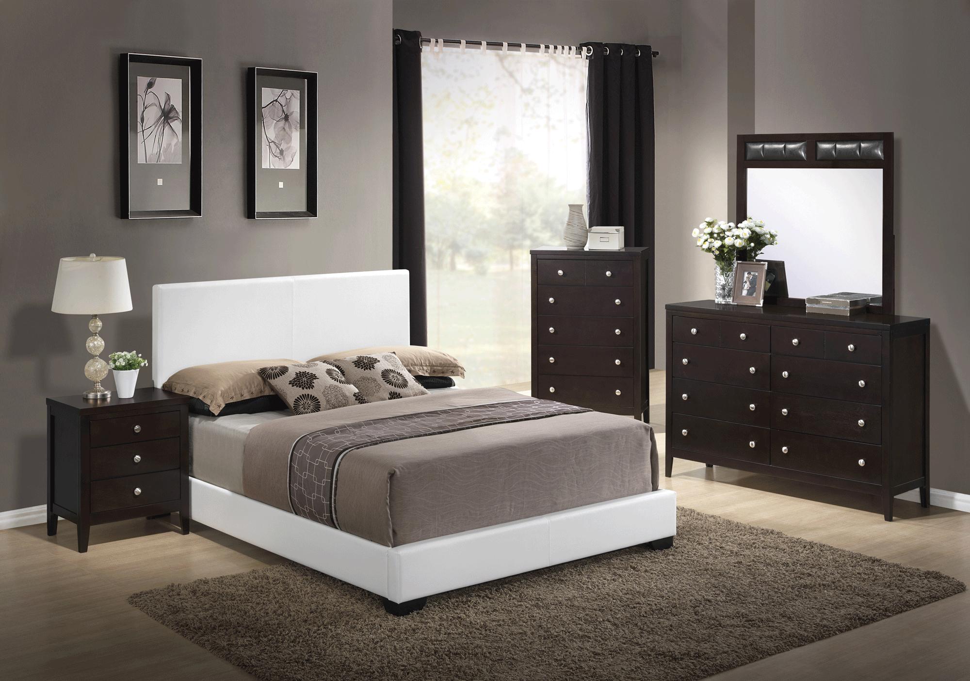 Rosa Antique Black Bedroom Set (w/8103 White PU Bed) by Global Furniture