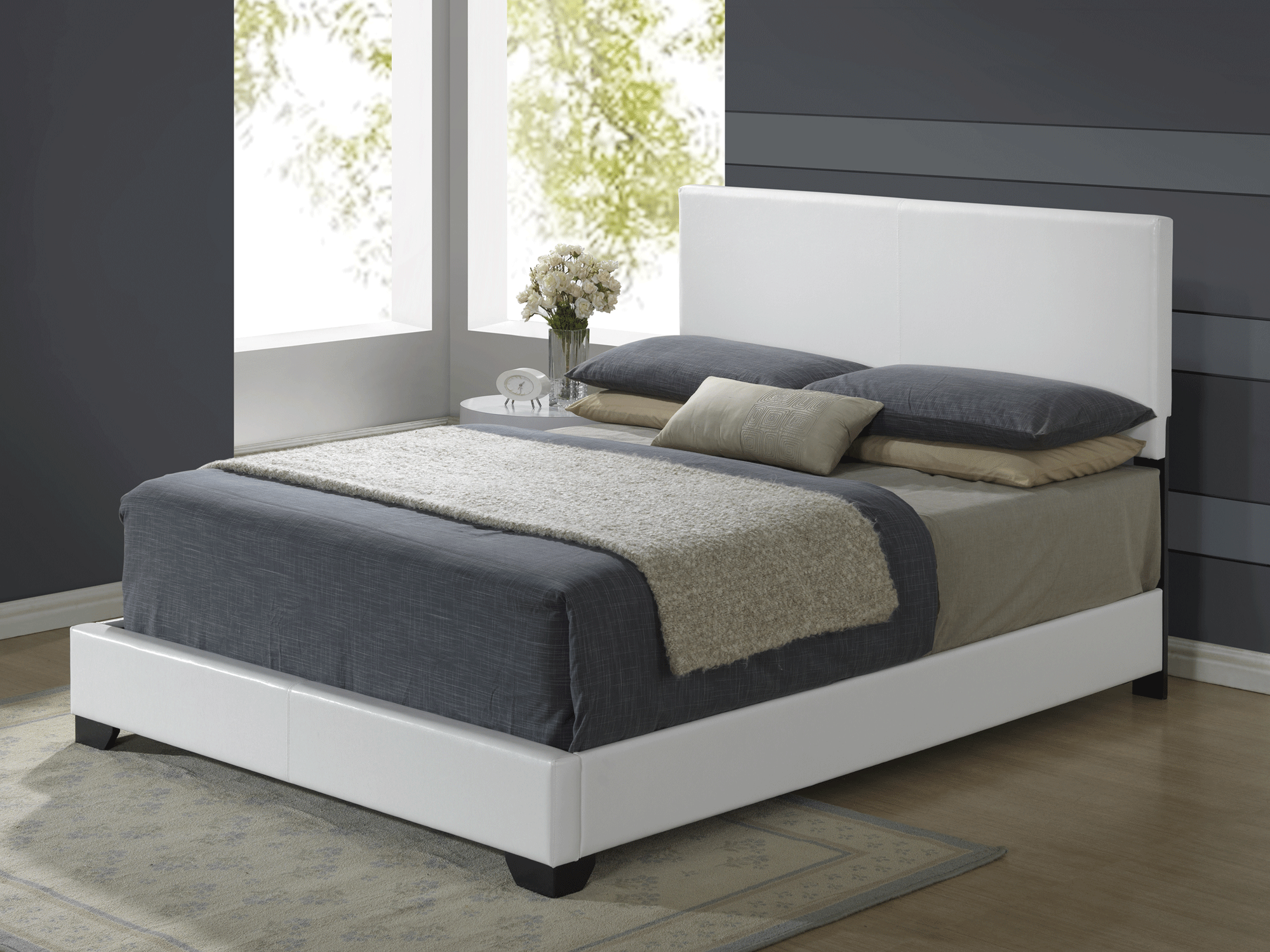 Aurora White Glossy Bedroom Set (w/8103 Grey PU Bed) by Global Furniture