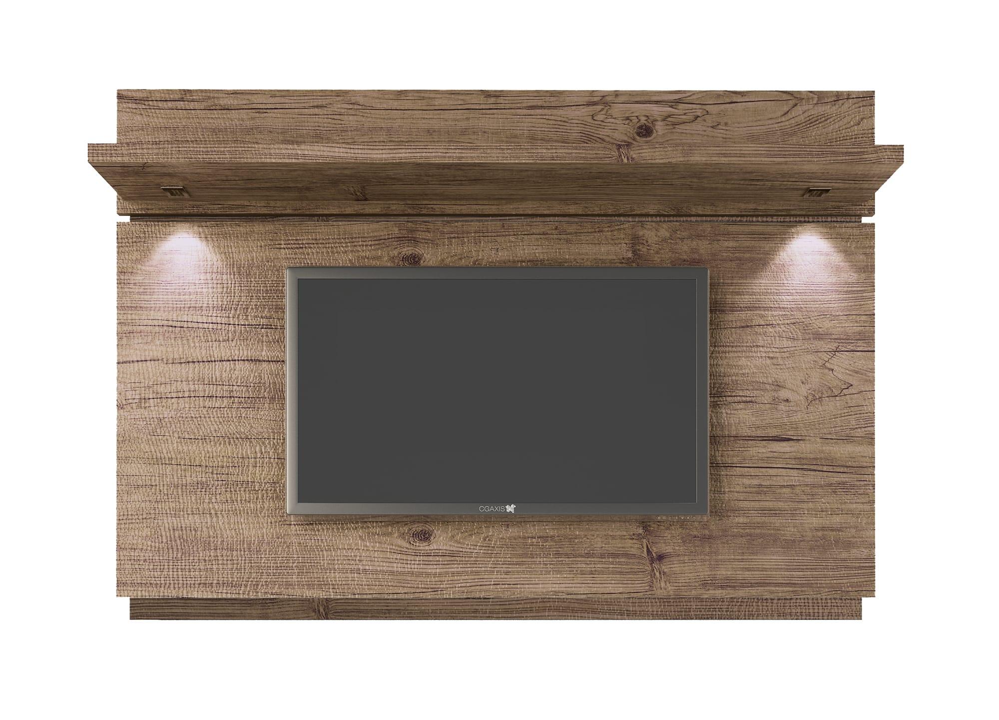 park 1 8 nature floating wall tv panel w led lights by manhattan comfort. Black Bedroom Furniture Sets. Home Design Ideas