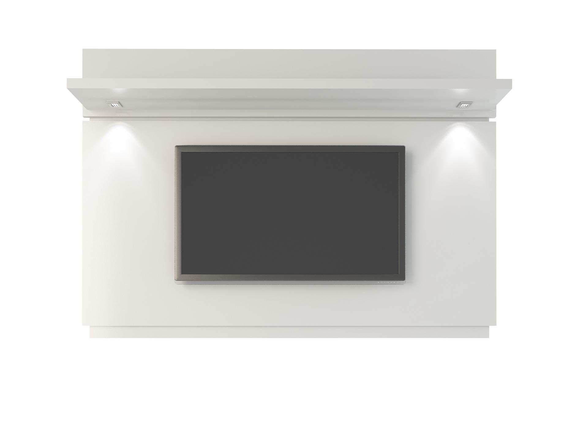 park 1 8 white gloss floating wall tv panel w led lights by manhattan comfort. Black Bedroom Furniture Sets. Home Design Ideas