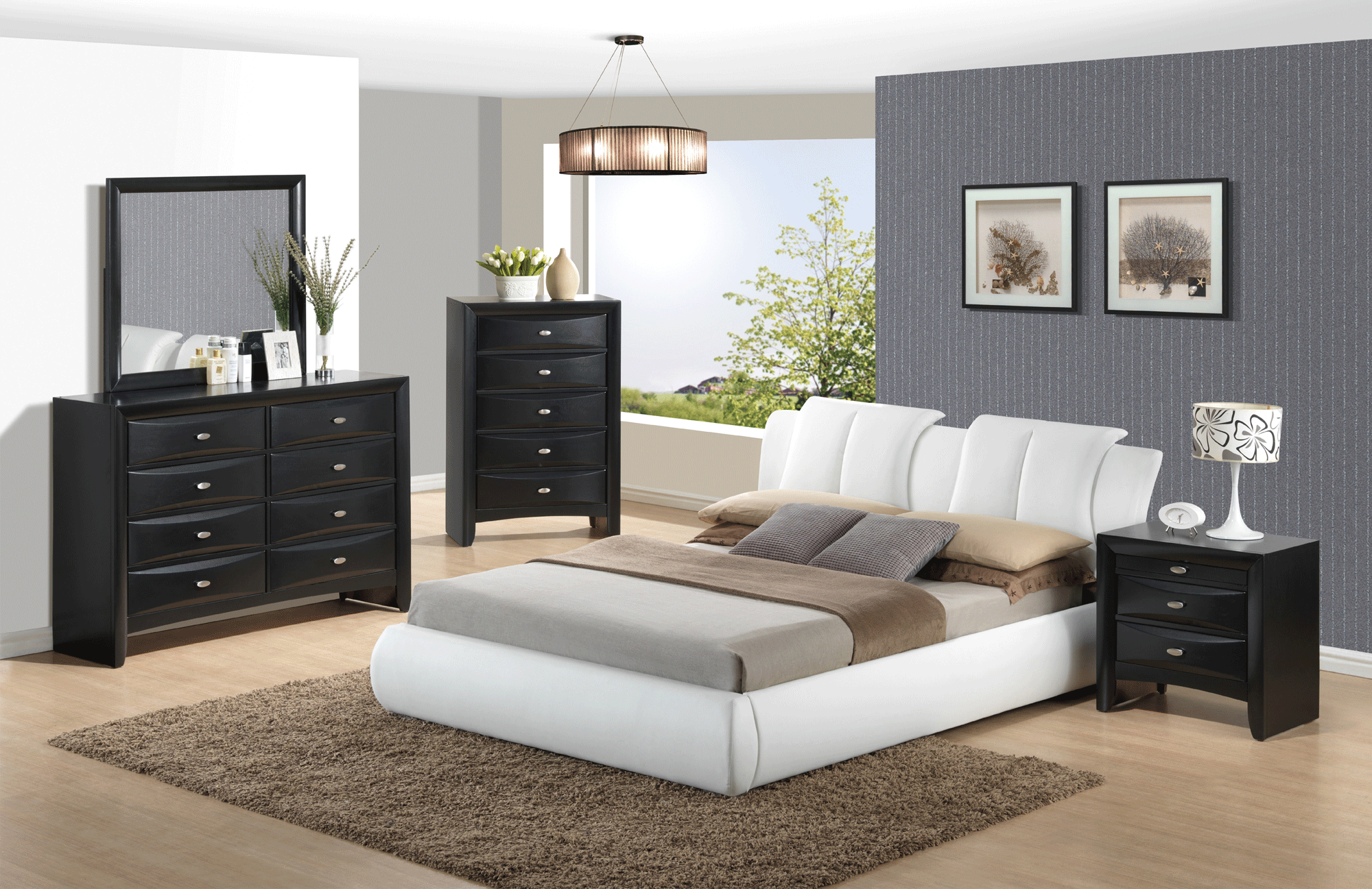 Linda Black Bedroom Set W 8269 White Pu Bed By Global Furniture