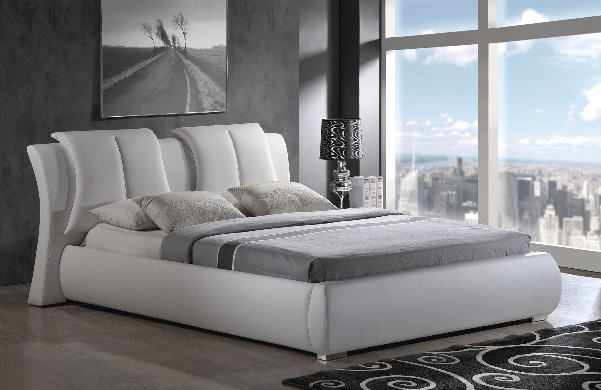 Linda Black Bedroom Set W 8269 White Pu Bed By Global Furniture