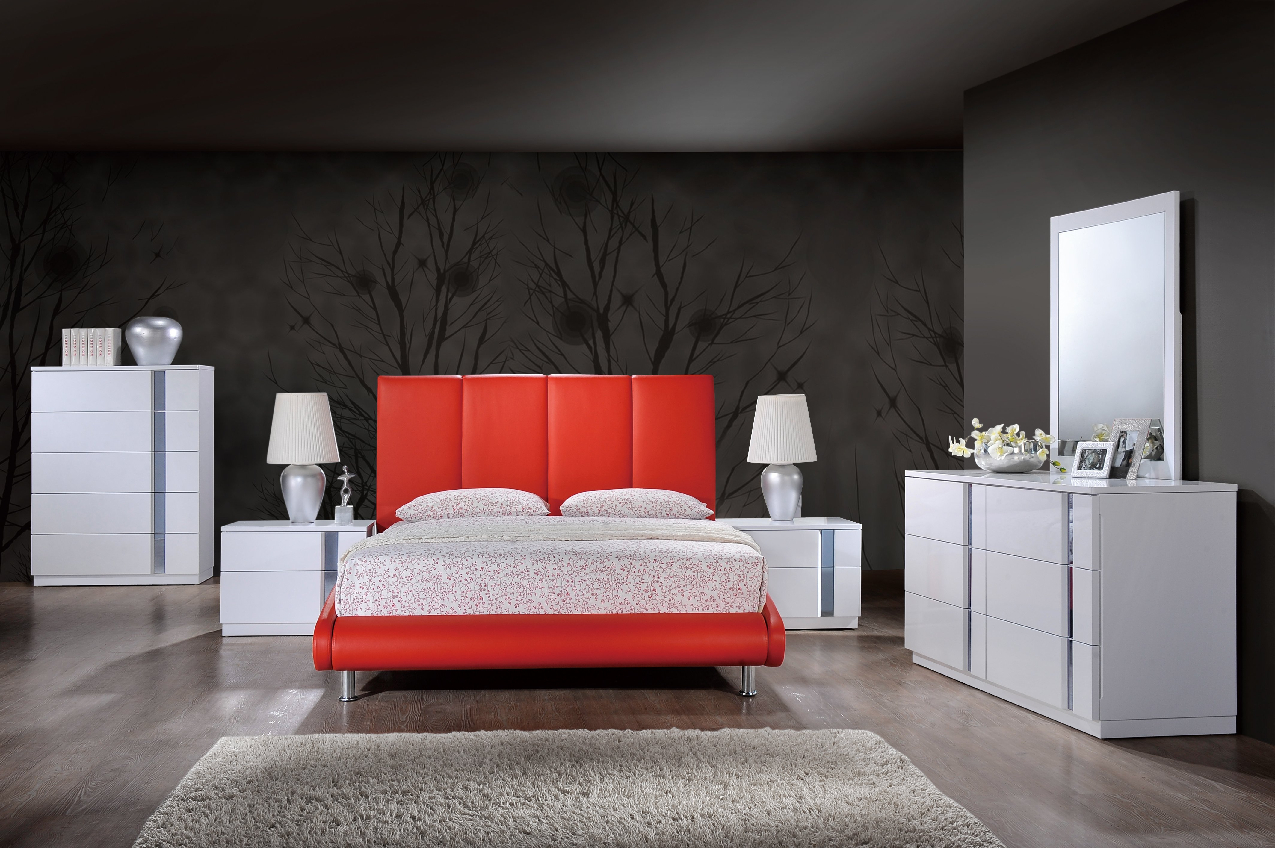 Jody White Glossy Bedroom Set W 8272 Red Pu Bed By