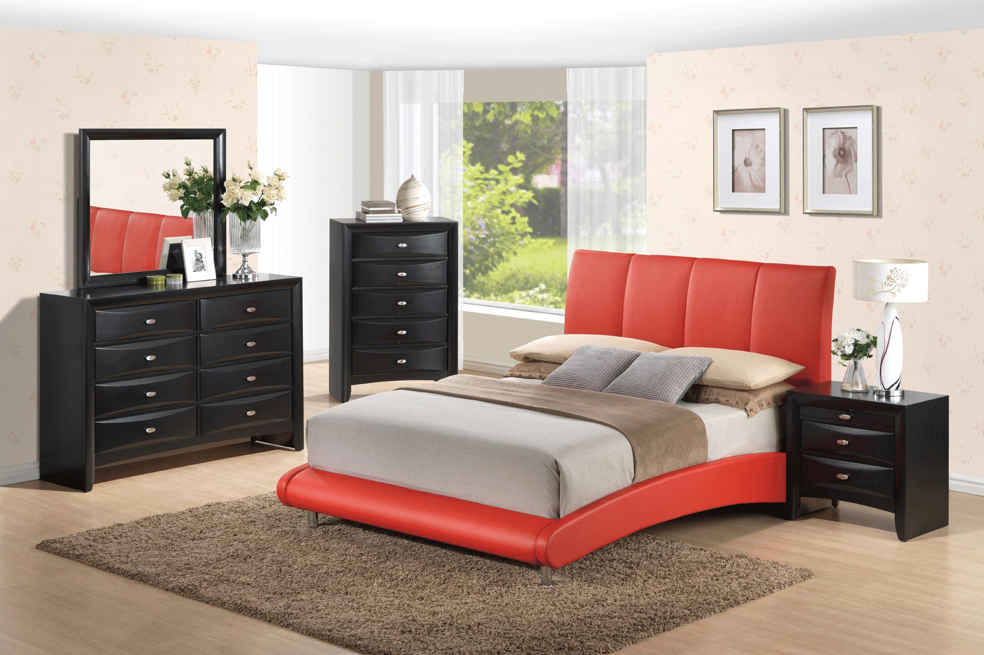 Linda Black Bedroom Set W 8272 Red Pu Bed By Global