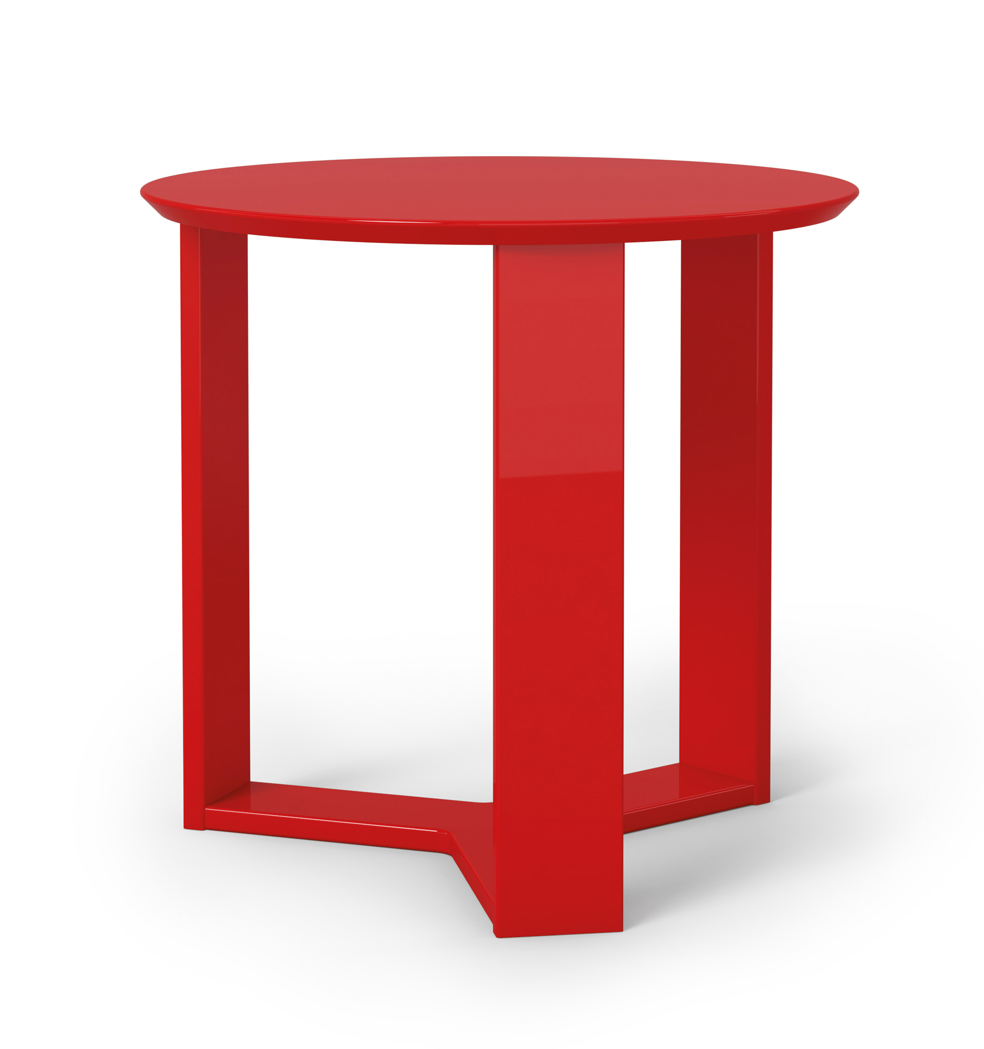 Madison 2 0 red gloss round accent end table by manhattan for Round table 99 rosenheim