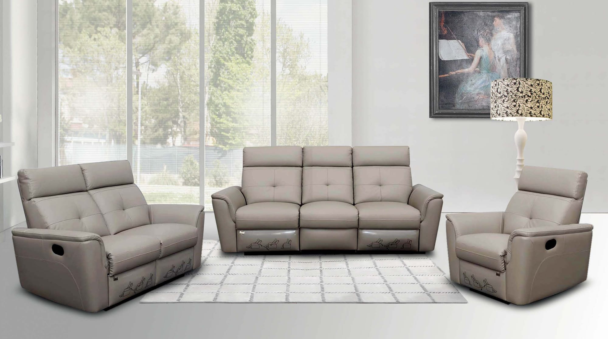 8501 Leather Sofa Set w/Recliner by ESF