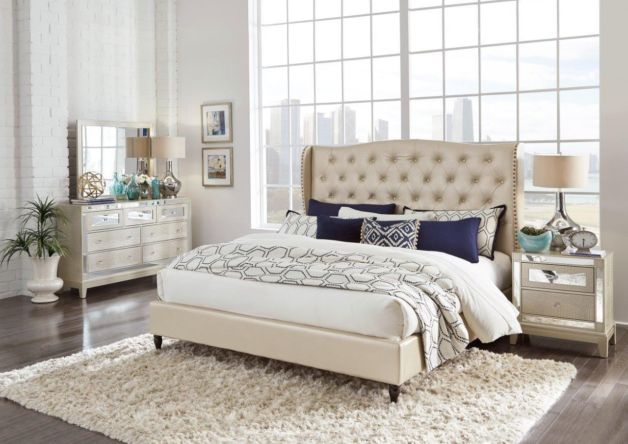 8856 Mirror Champagne Bedroom Set by Global Furniture
