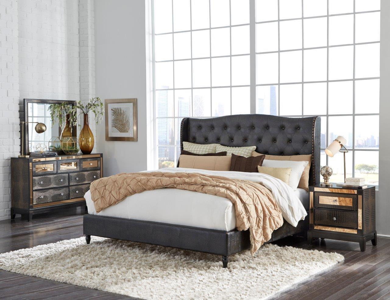 8856 Mirror Chocolate Bedroom Set by Global Furniture