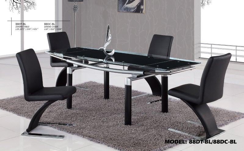 dining table 88dt black by global furniture. Black Bedroom Furniture Sets. Home Design Ideas