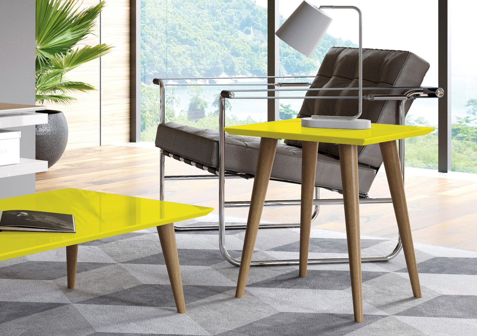 Utopia Yellow 19.68 Inch High Square End Table W/ Splayed Wooden Legs By  Manhattan Comfort