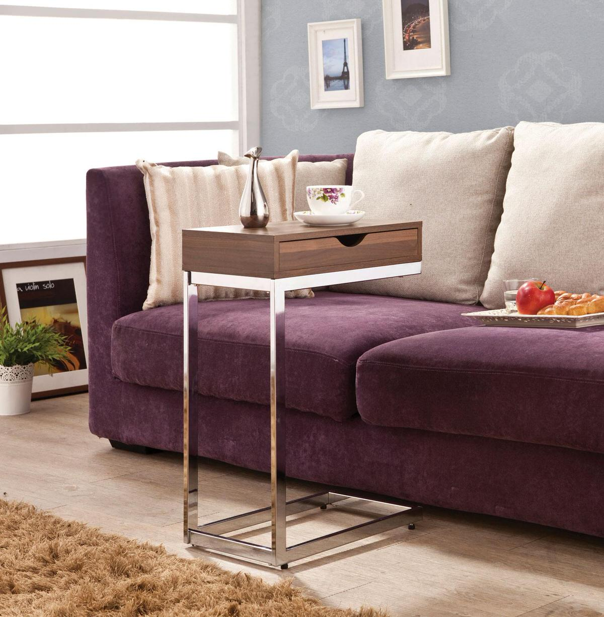 Poundex Sofa Chair side Accent End Snack Table Cherry Finish