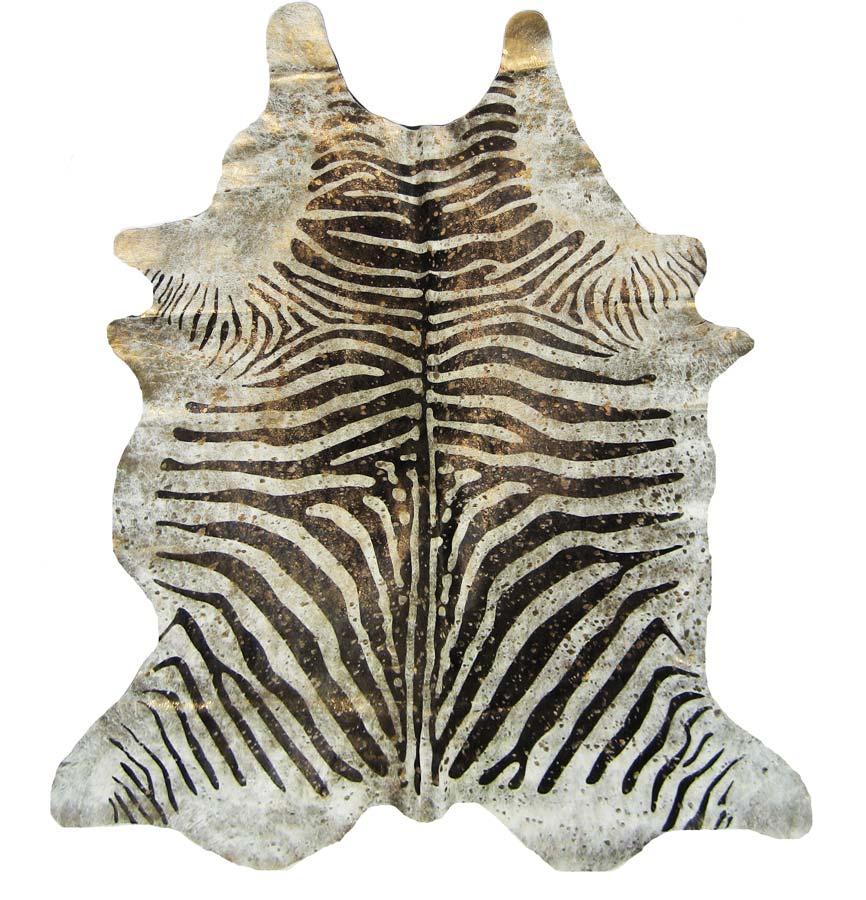 Devore Metallic Zebra Brown On Beige With Gold Cowhide