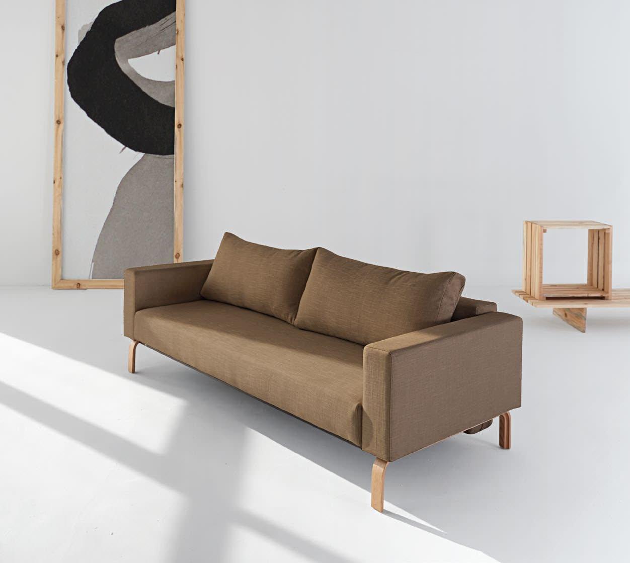Cassius Sleek Sofa Bed Full Size Dark Khaki By Innovation