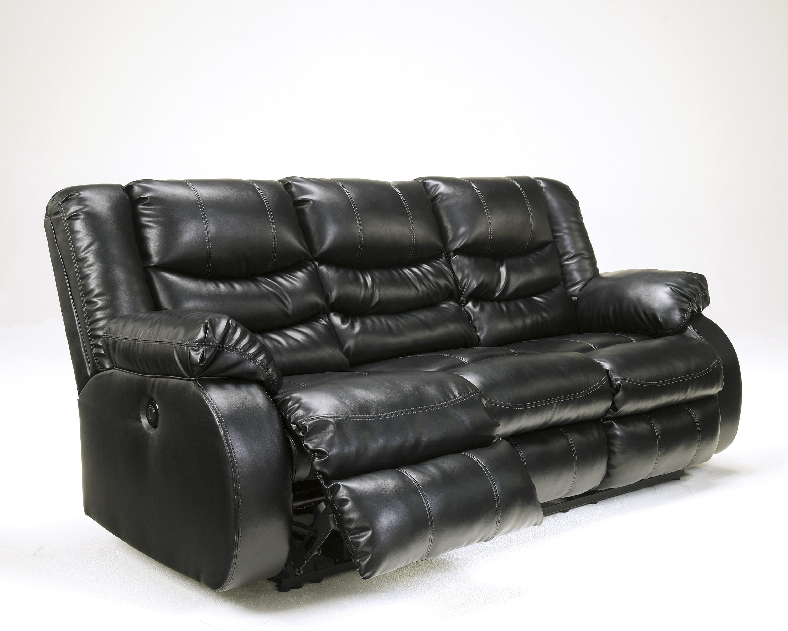 Black Leather Reclining Sofa by Ashley Furniture
