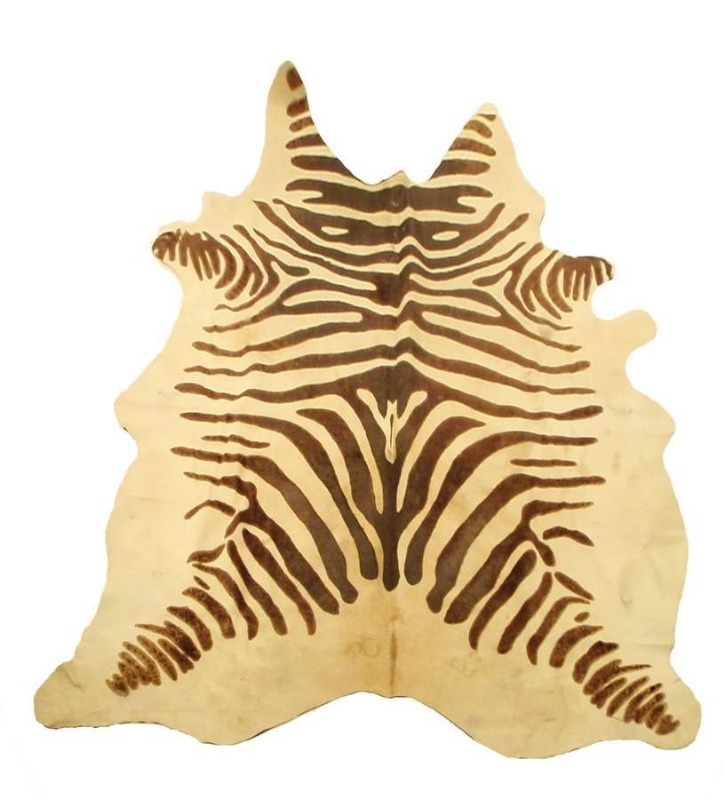 Devore rustic zebra brown on beige cowhide for Cowhide rugs nyc