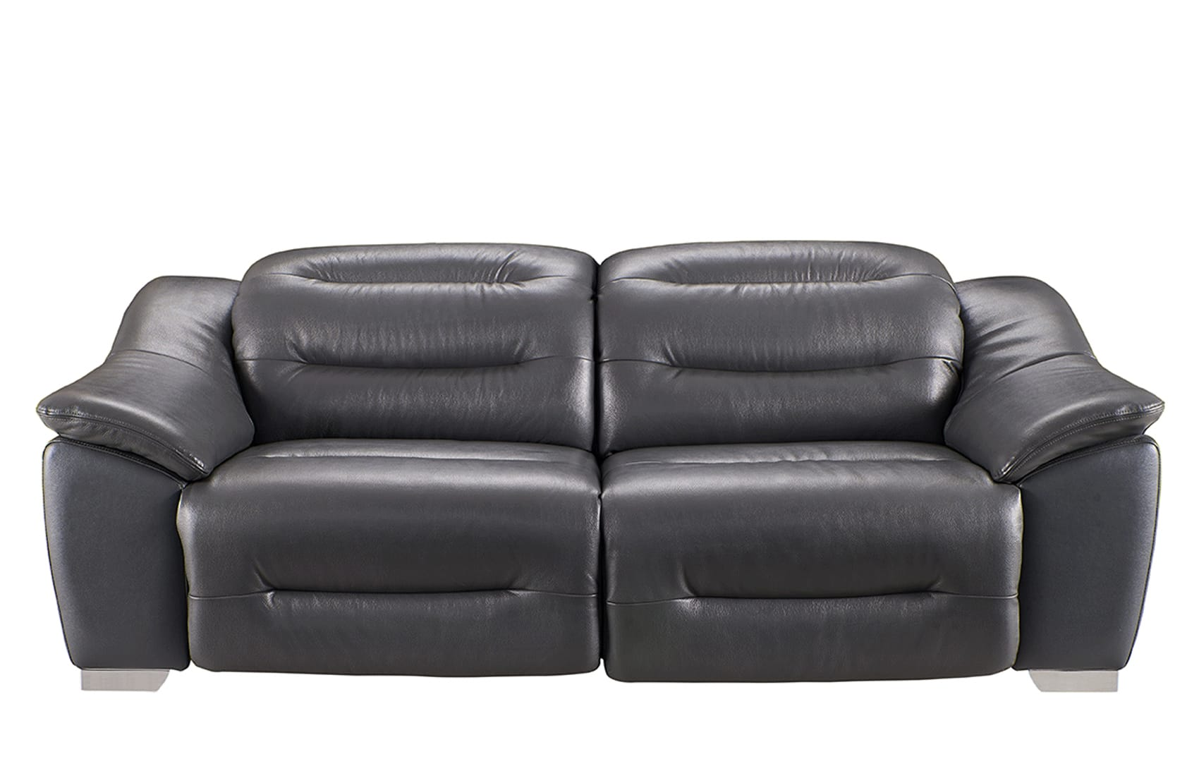 972 Charcoal Leather Sofa W 2 Electric