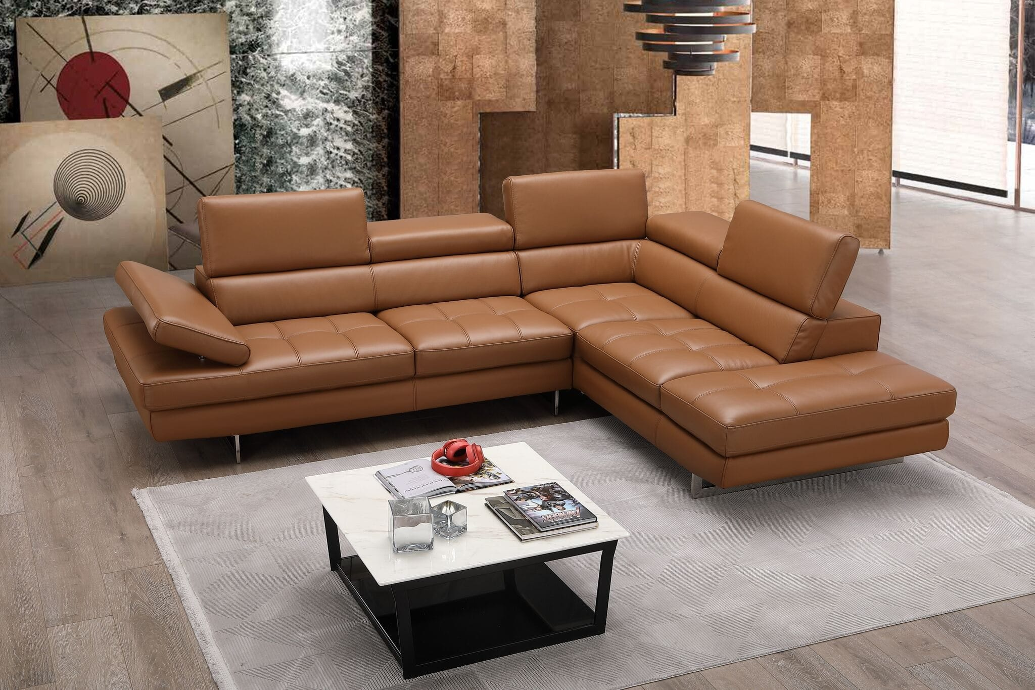 Superb A761 Premium Italian Leather Sectional Caramel By Jm Furniture Caraccident5 Cool Chair Designs And Ideas Caraccident5Info