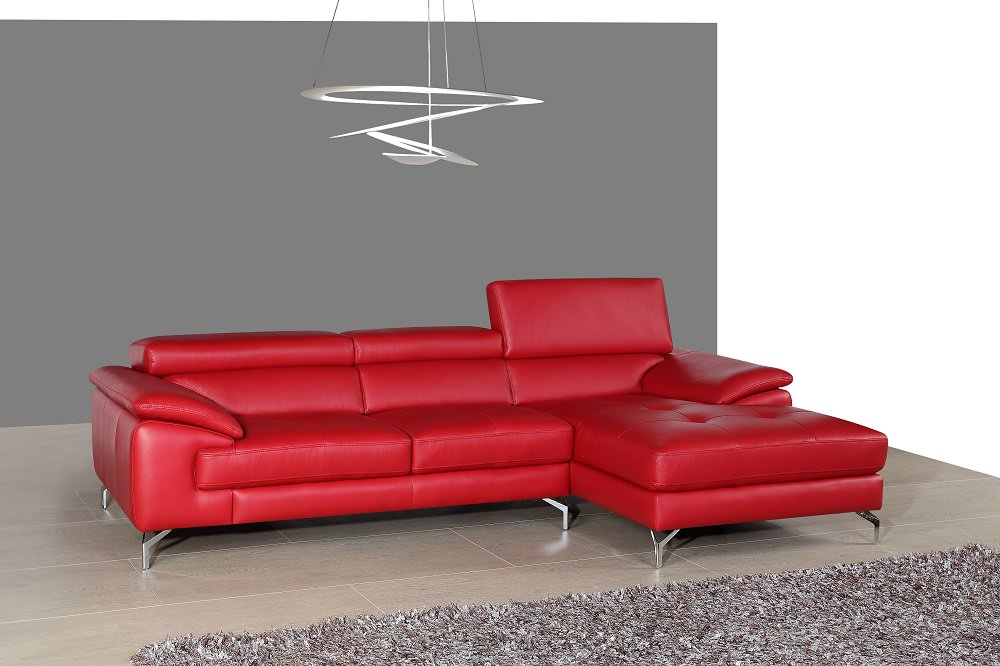 A973b Premium Italian Leather Sectional Red