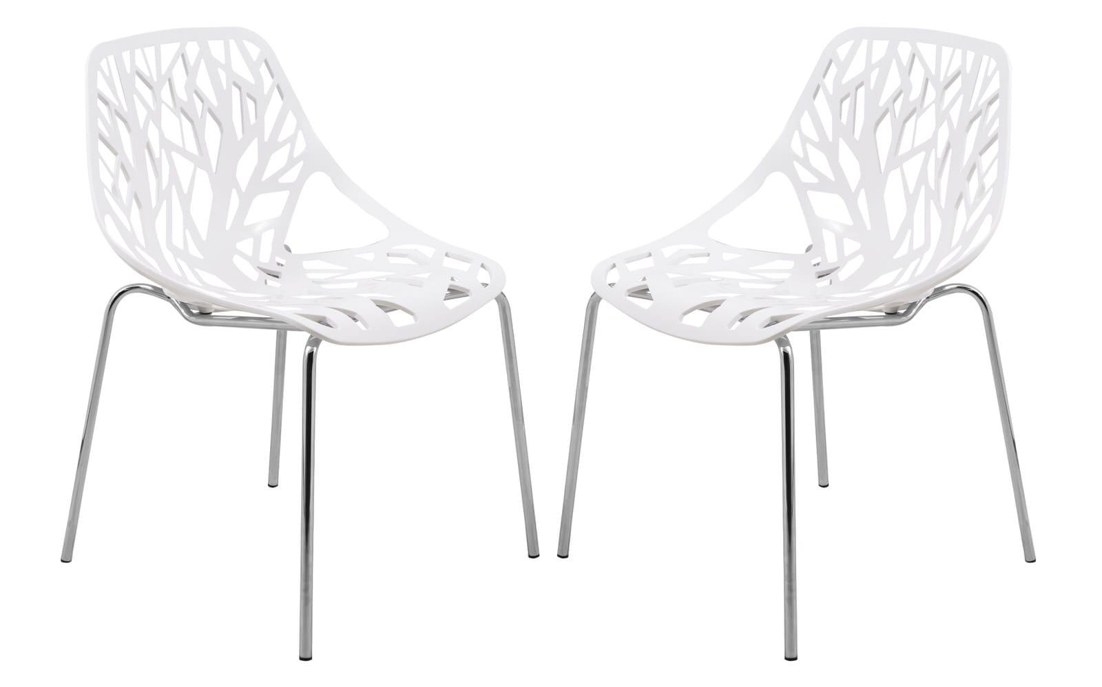 Asbury Modern White Dining Chair W/ Chromed Legs (Set Of 2) By LeisureMod