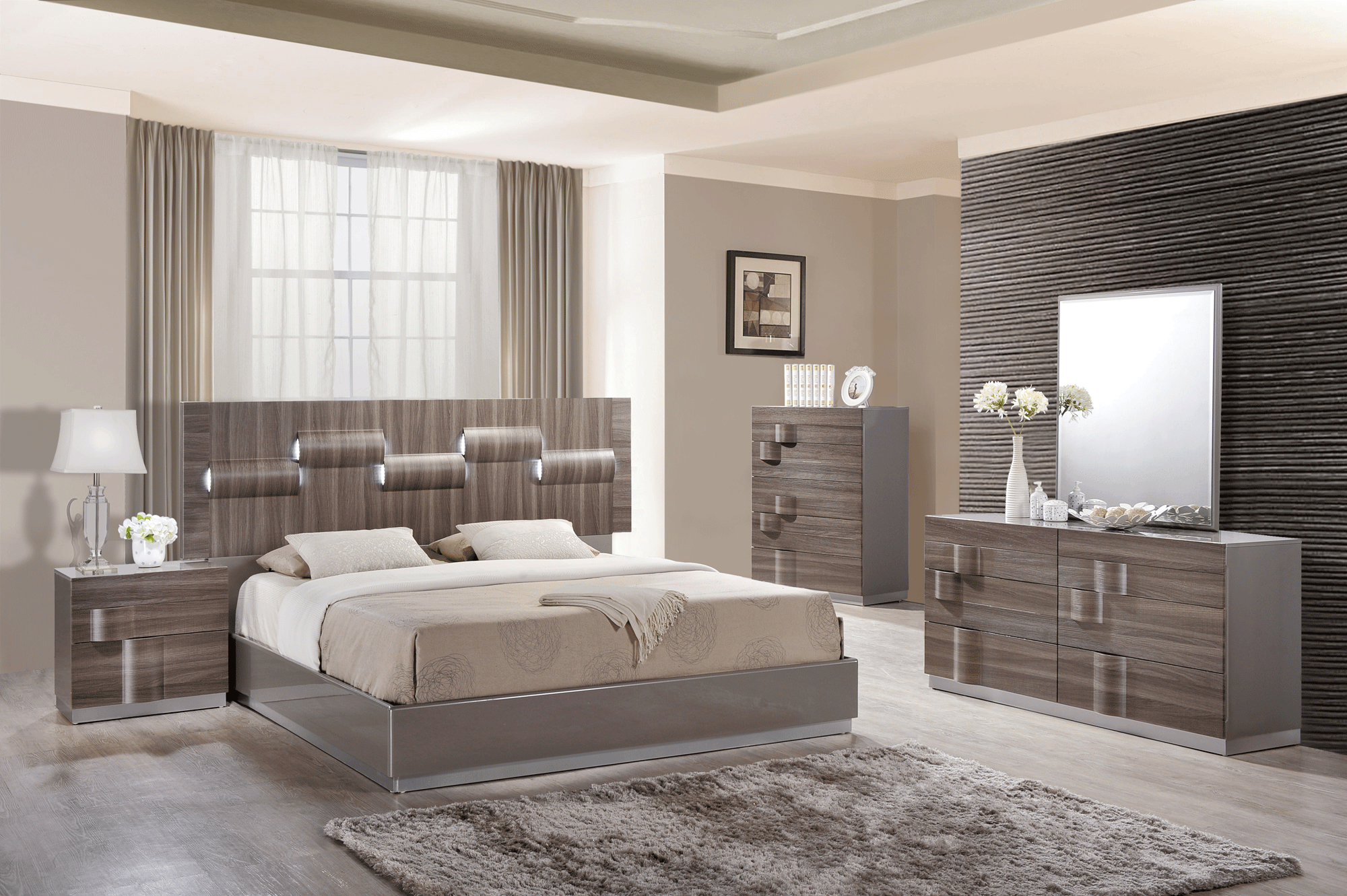 Adel Grey Glossy & Zebra Wood Bedroom Set by Global Furniture