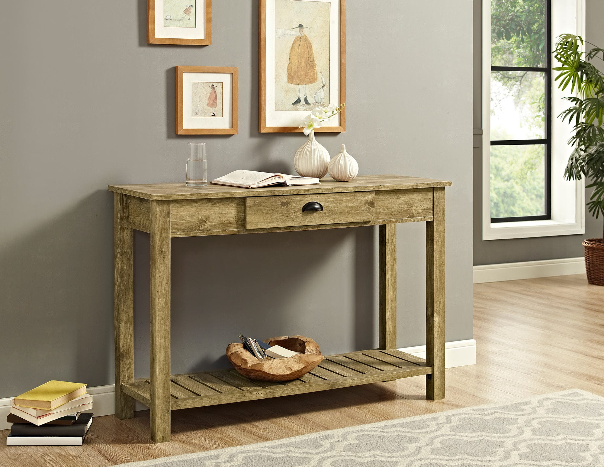 Astonishing 48 Inch Country Style Entry Console Table Barnwood By Walker Edison Gmtry Best Dining Table And Chair Ideas Images Gmtryco