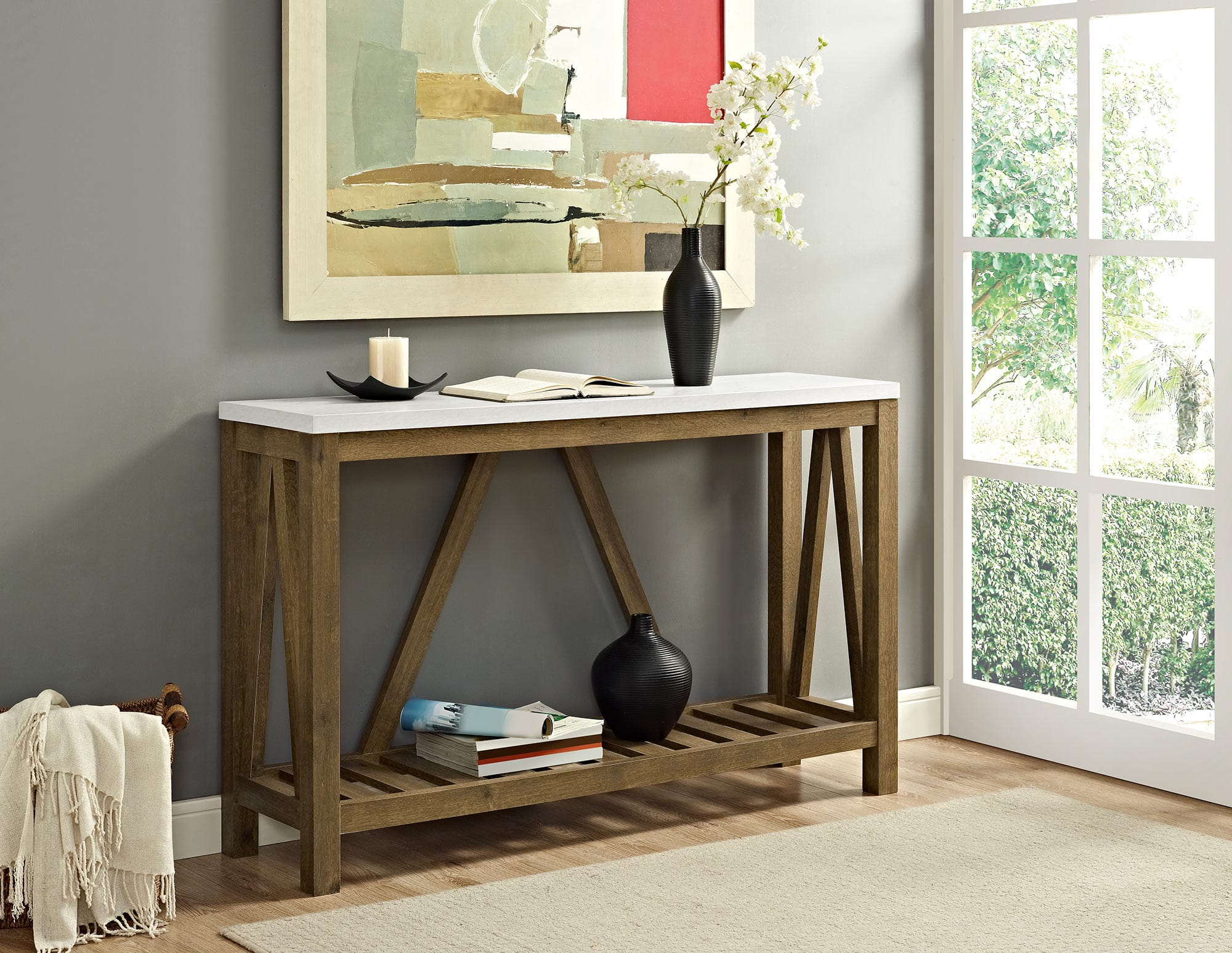 52 Inch A-Frame Rustic Entry Console Table - Marble/Walnut by Walker ...