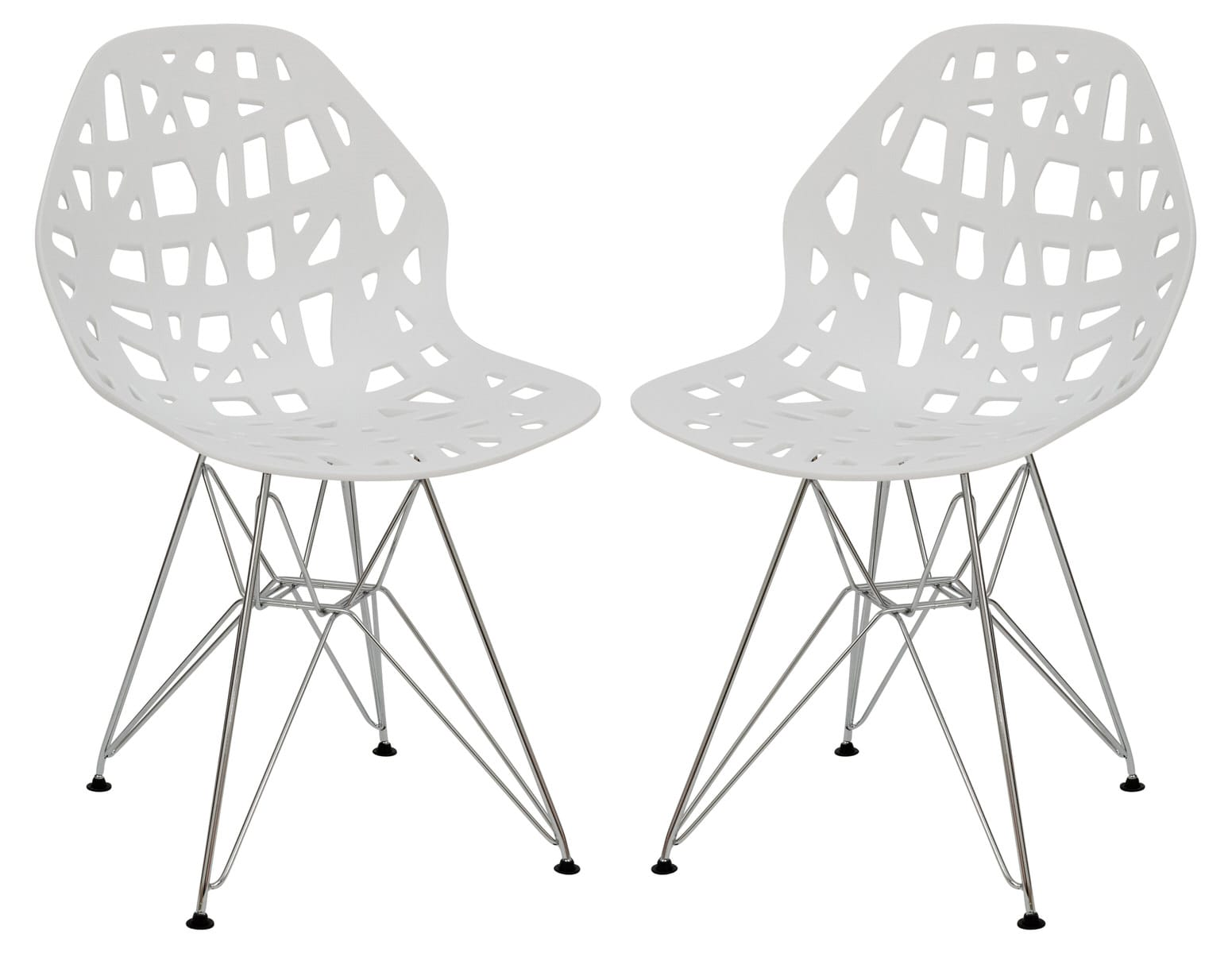 Awe Inspiring Akron White Side Chair W Chrome Legs Set Of 2 By Leisuremod Uwap Interior Chair Design Uwaporg