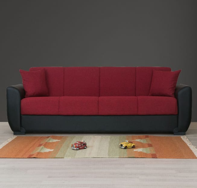 Red Black Pu Leather Arms Sofa Bed