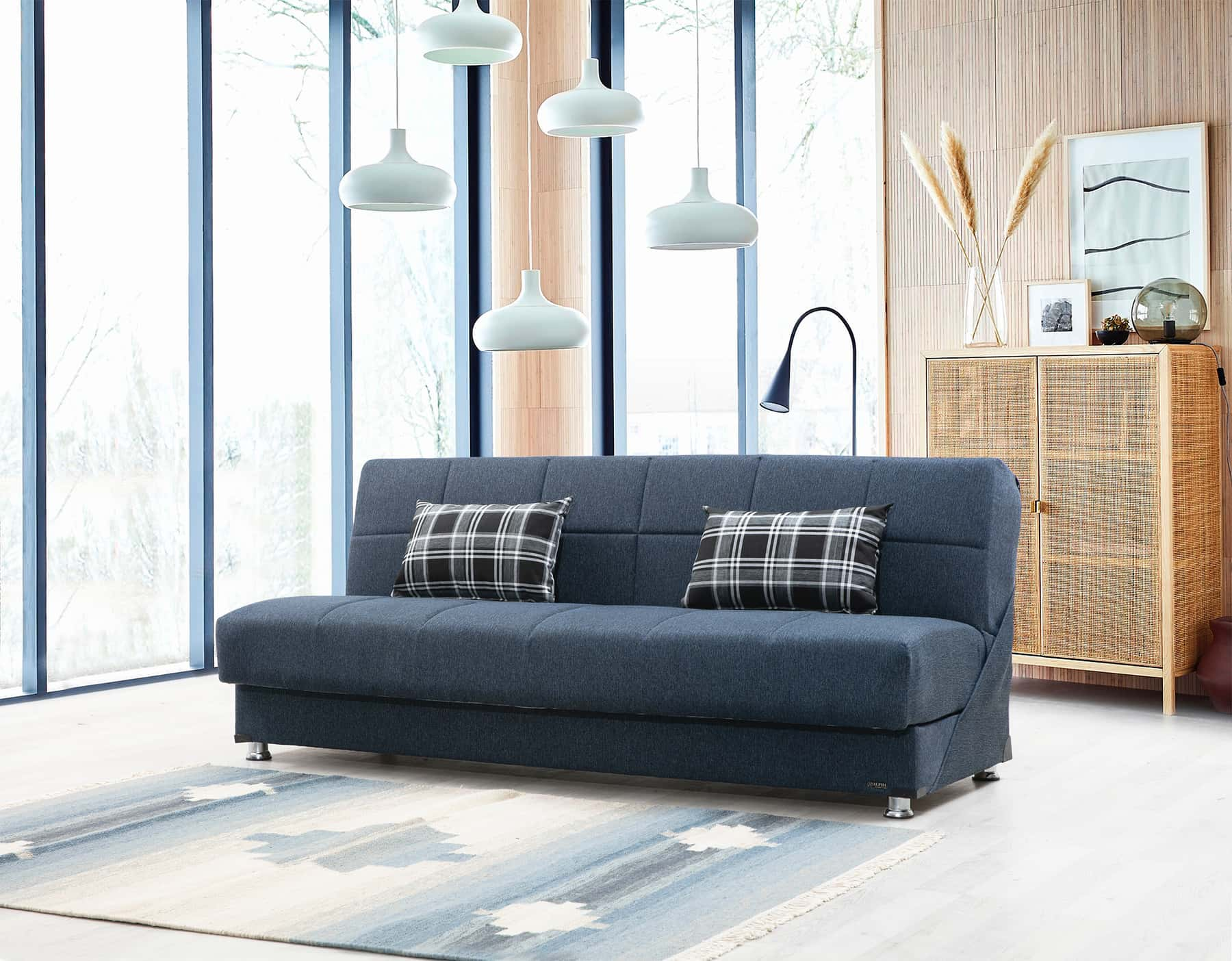petra modern navy blue microfiber sleeper sofa bed by alpha furniture