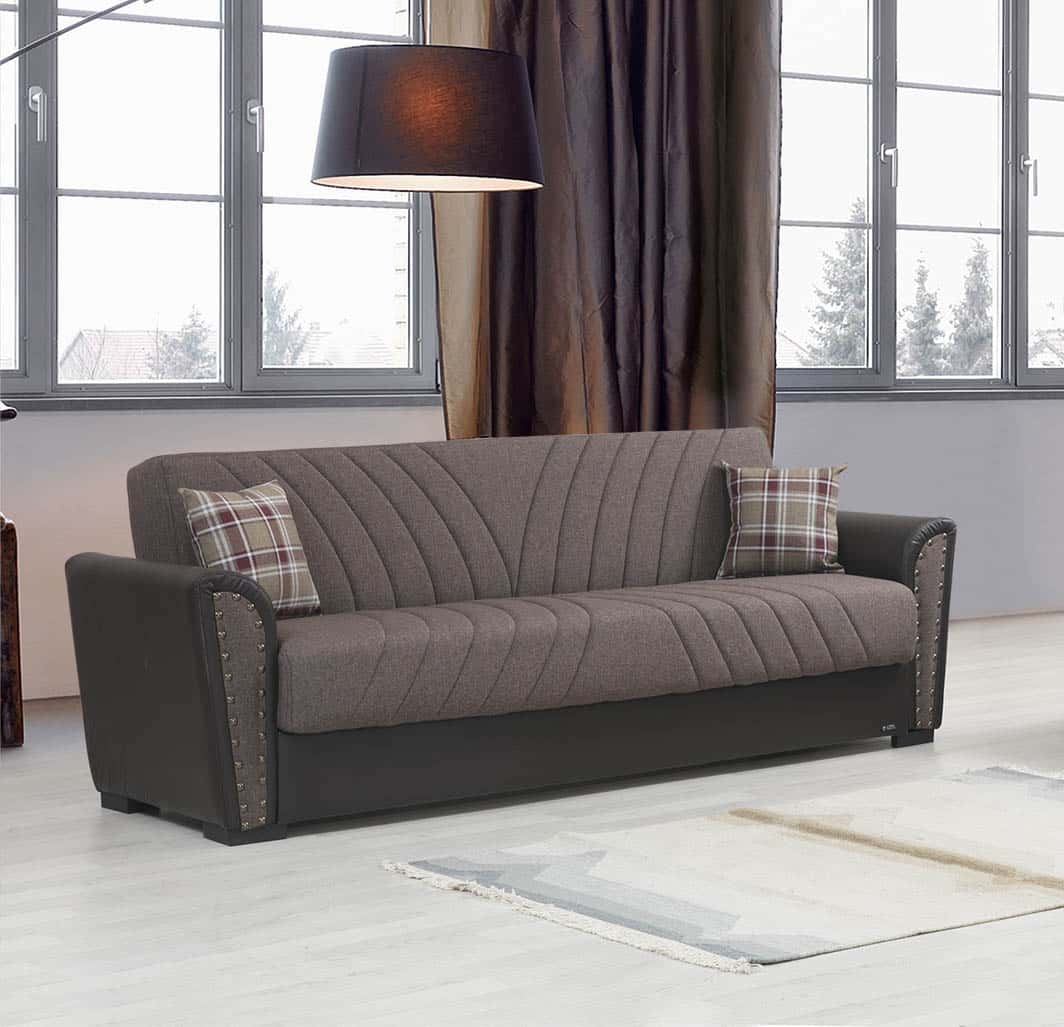 Salinas Brown Microfiber Sofa Bed By Alpha Furniture