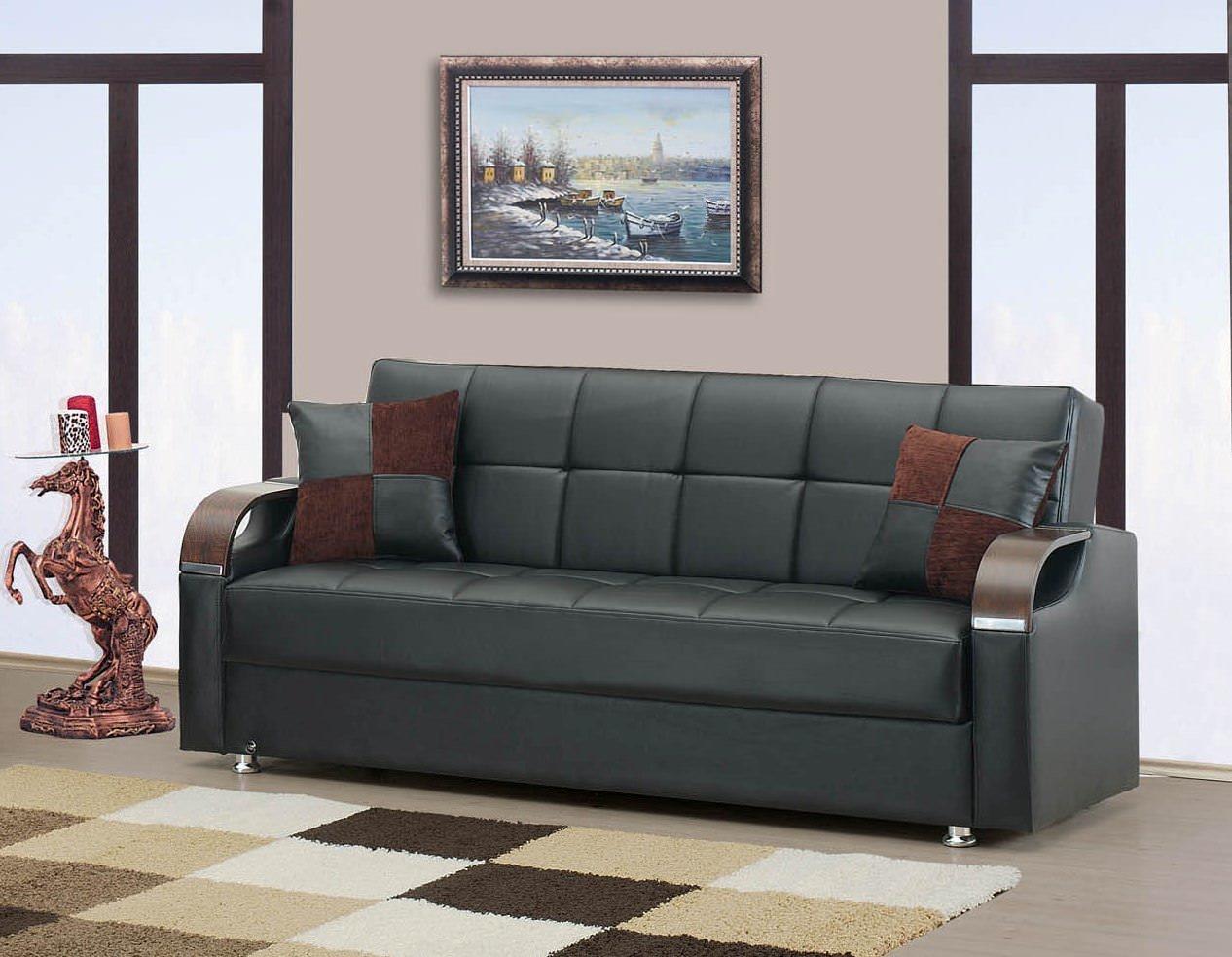 Angel espresso black bonded sofa bed by kilim for Sofa bed name
