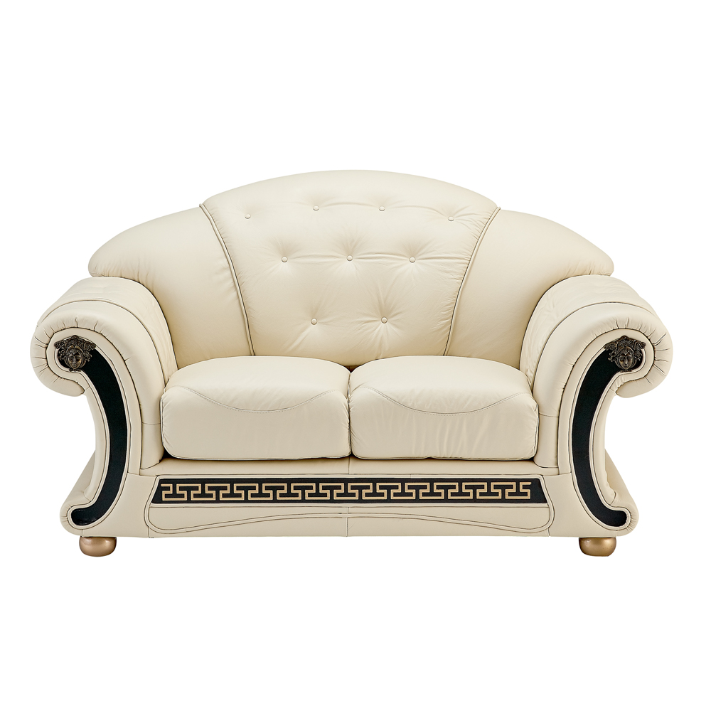 Apolo Ivory Leather Loveseat by ESF