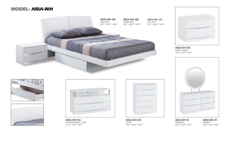 Aria White Glossy Bedroom Set by Global Furniture