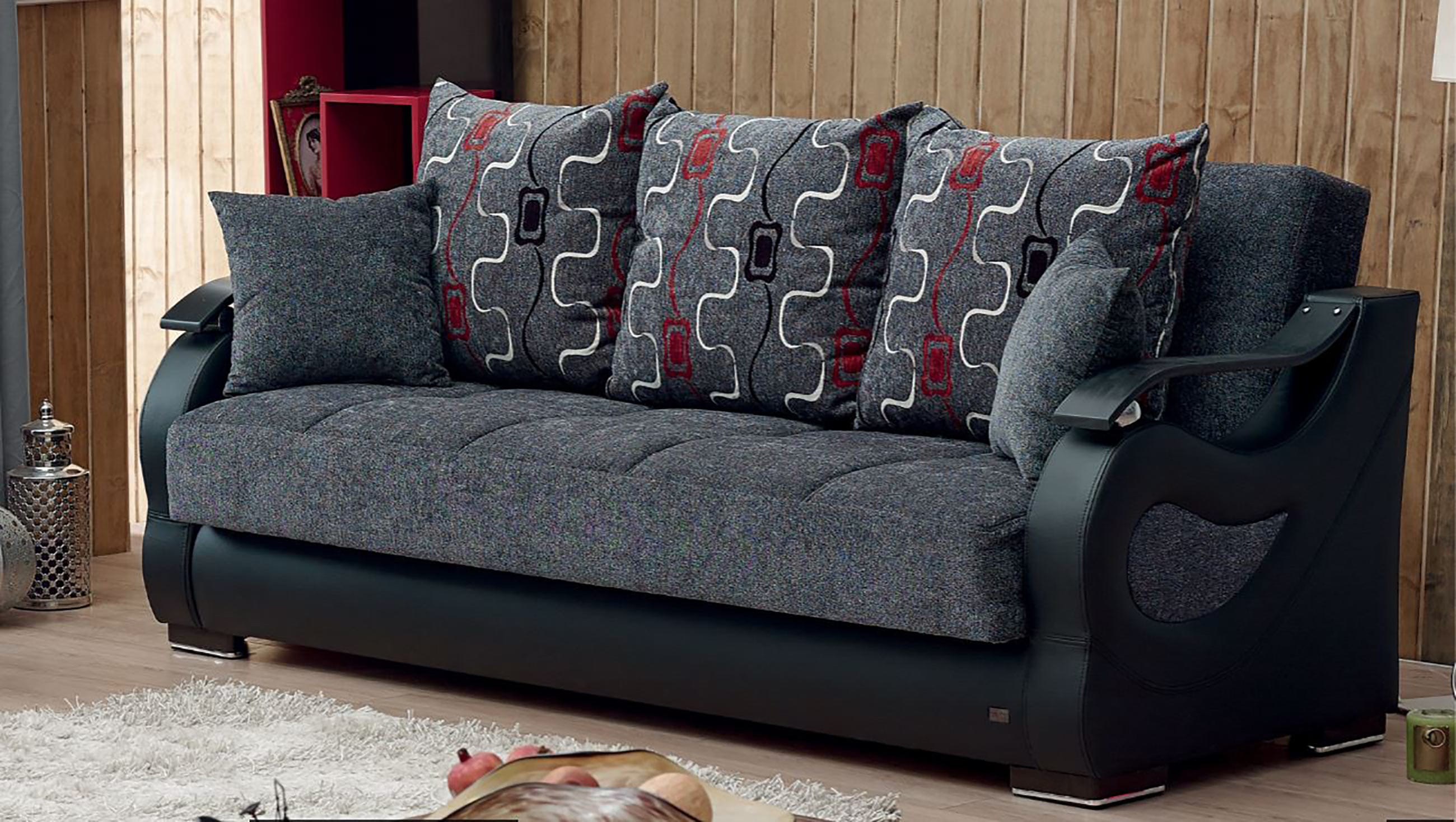 Arizona gray fabric sofa bed by empire furniture usa for Sofa bed usa