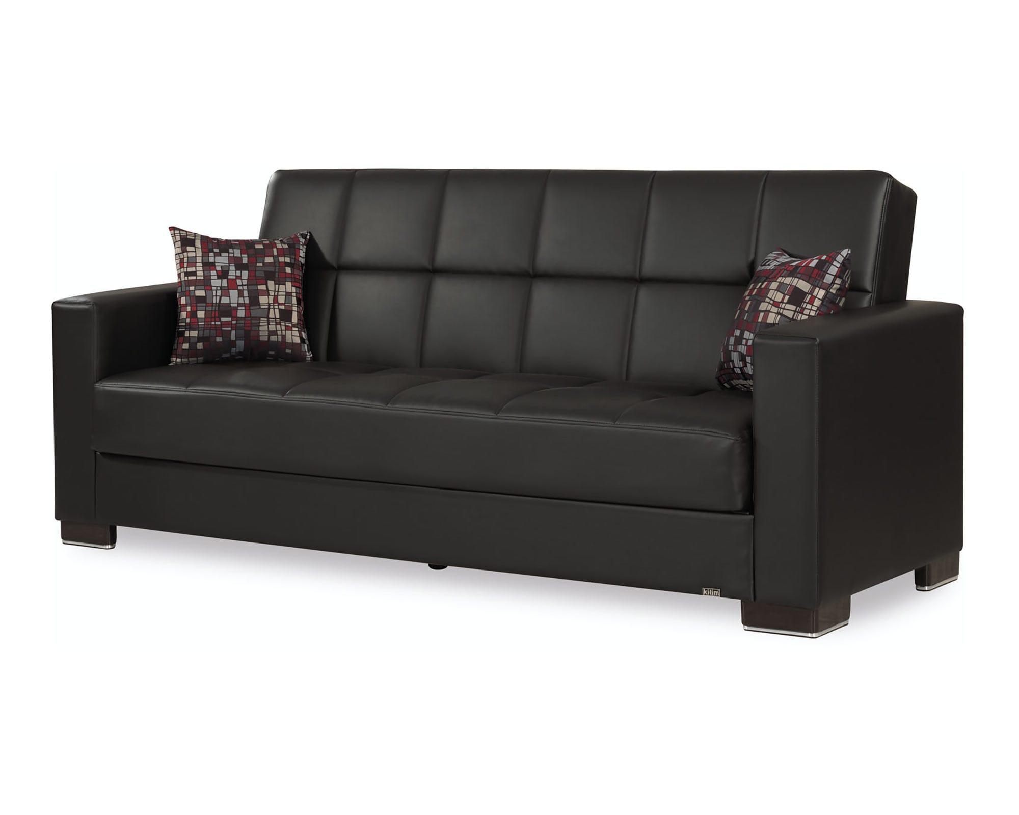 Armada Black PU Leather Sofa Bed by Casamode