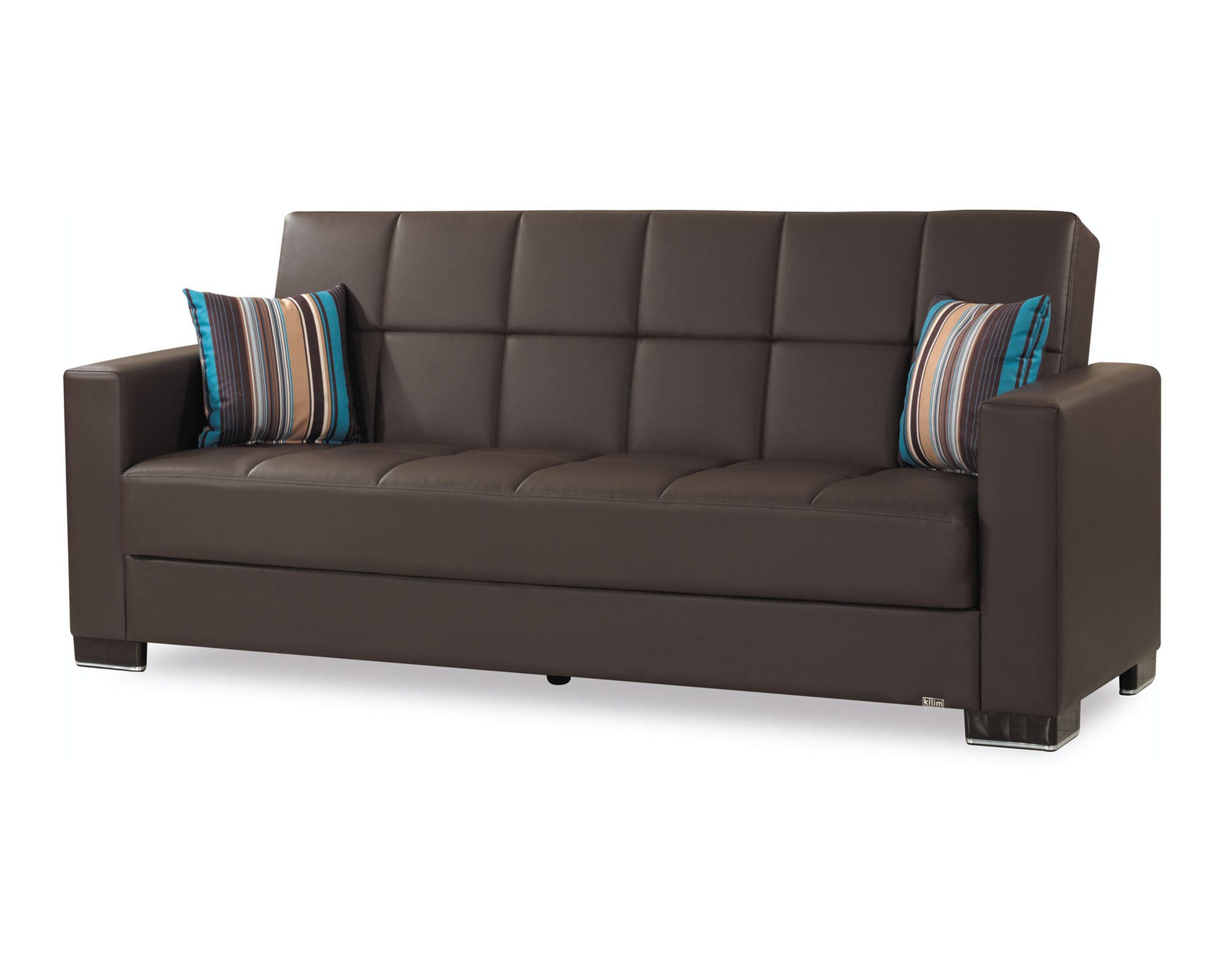 Armada Brown PU Leather Sofa Bed by Casamode
