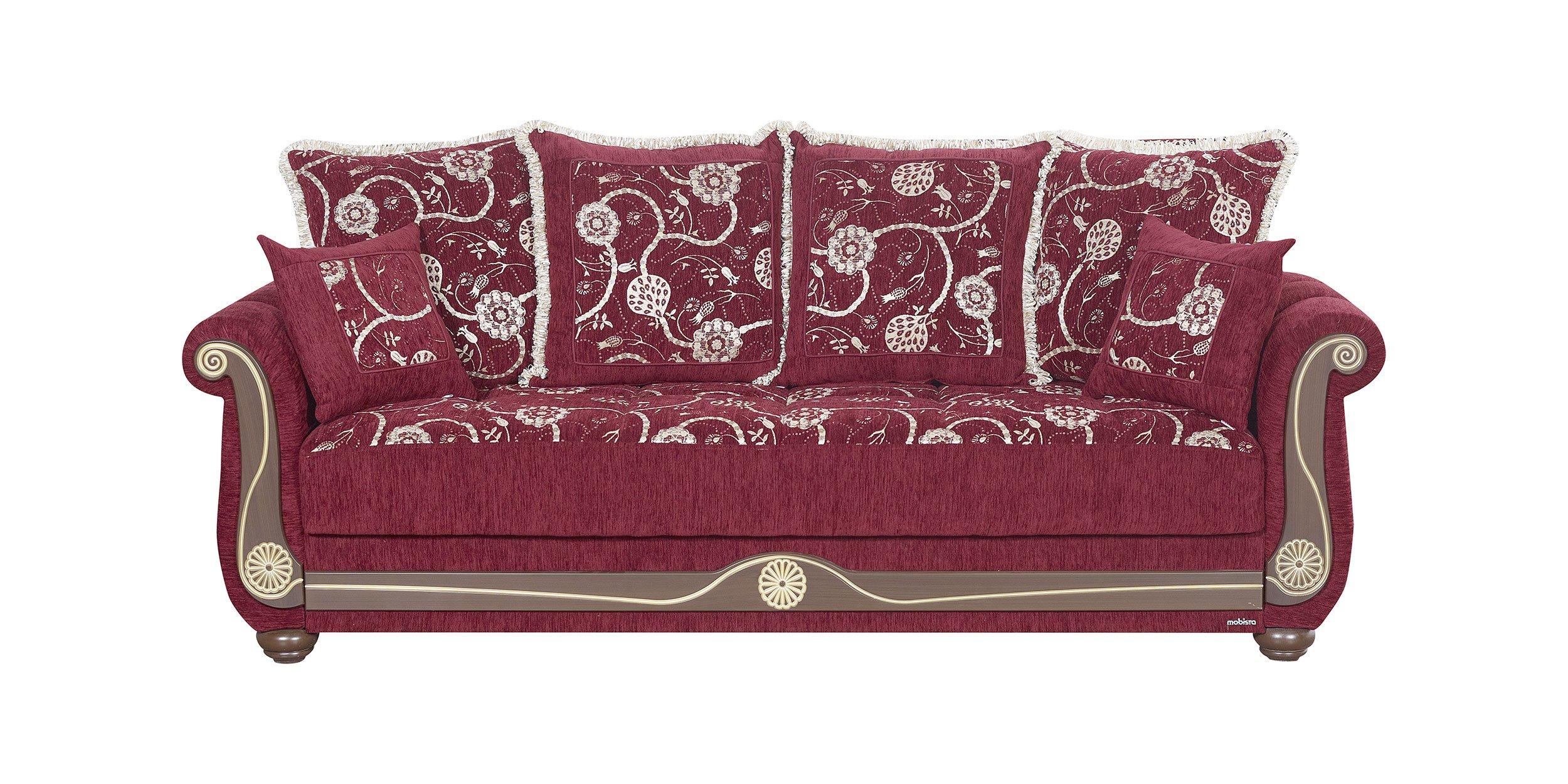 American Style Evita Flowers Burgundy Sofa Bed By Mobista