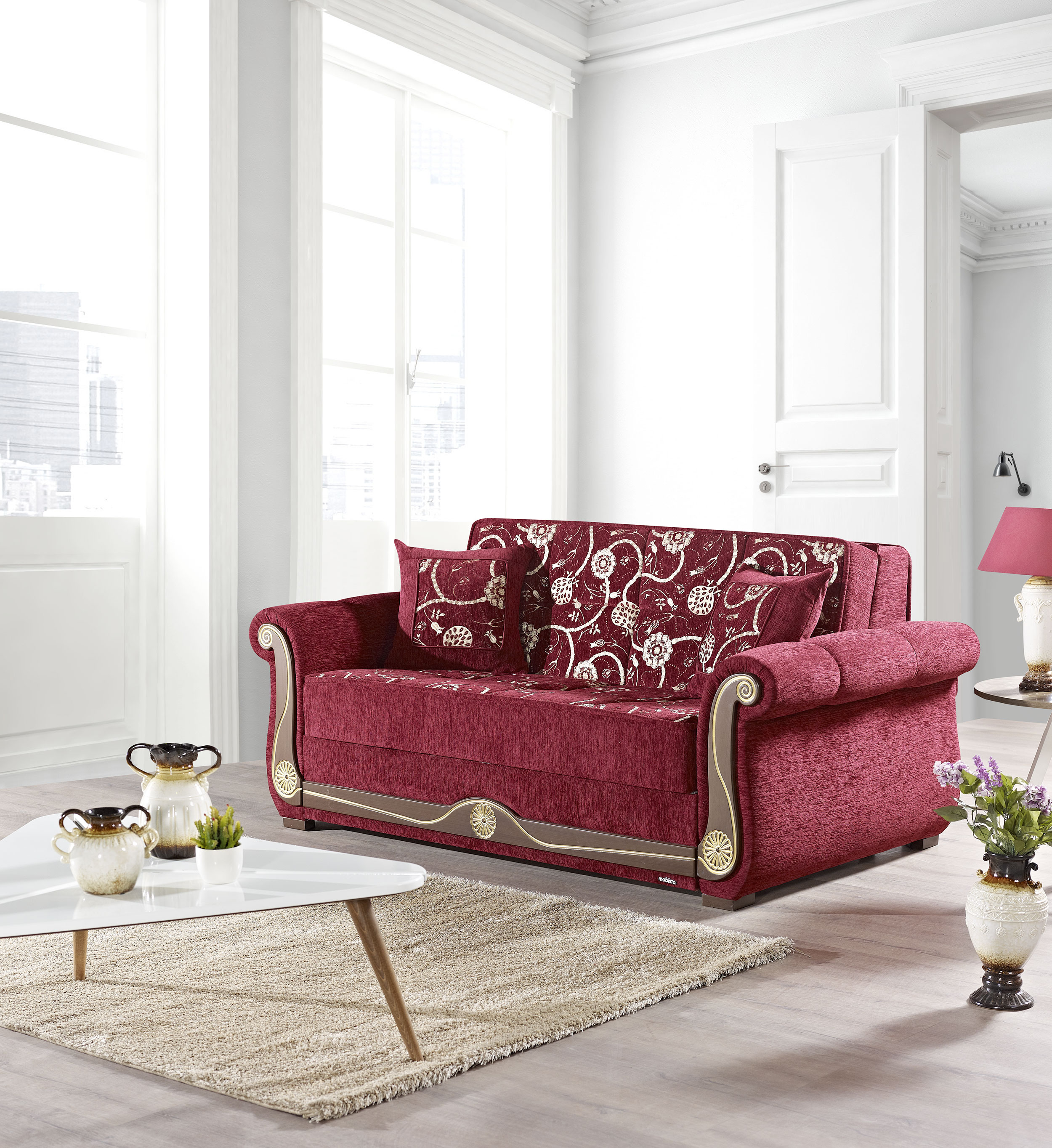 American Style Prime Evita Flowers Burgundy Loveseat Bed by Mobista