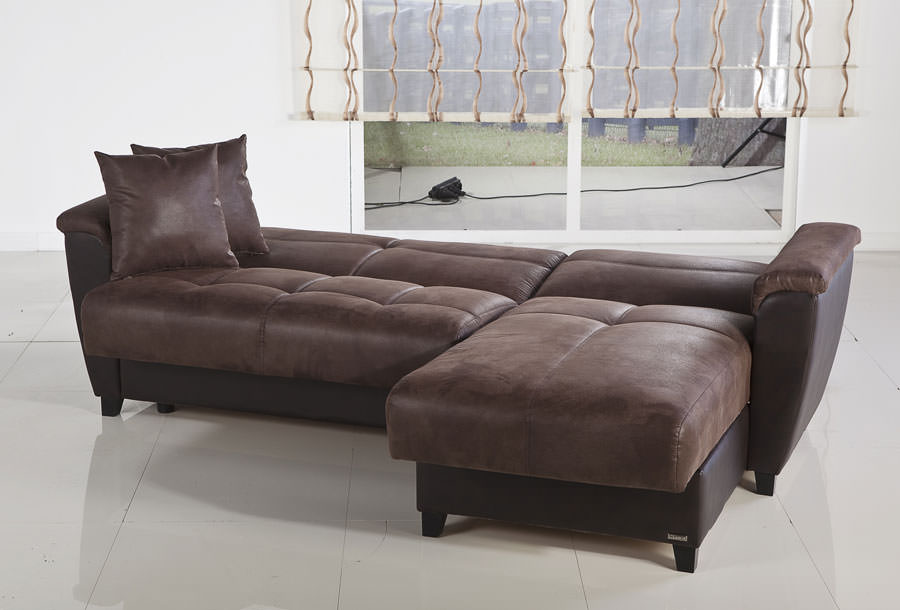 Aspen chocolate sectional chair ottoman set by sunset for Aspen sectional sofa with ottoman